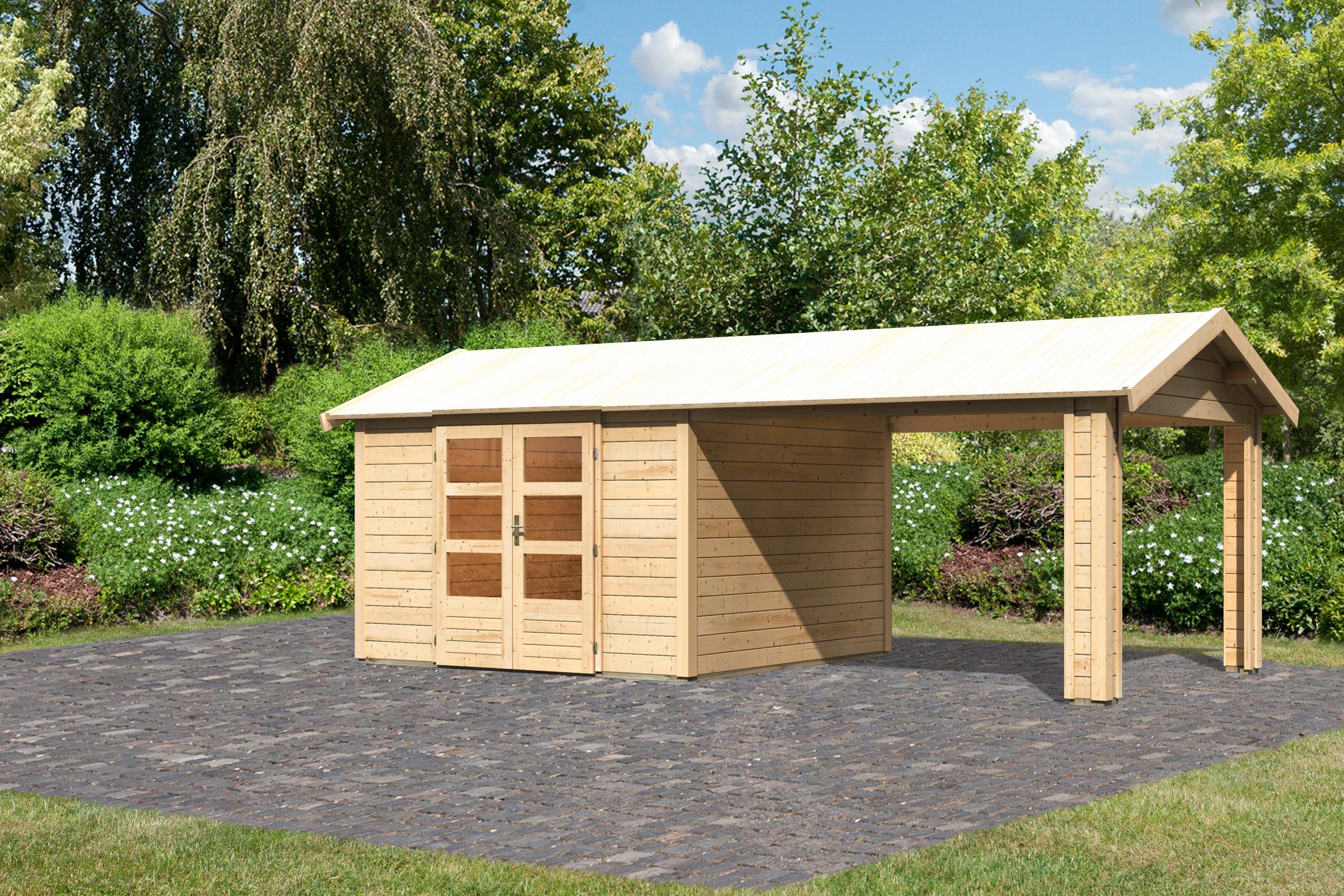 Cabane De Jardin Tastrup 7 Avec Abri 604 X 304 X 250 Cm tout Abris De Jardin Avec Plancher