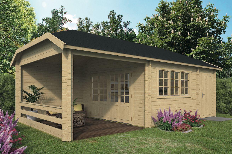 Cabane De Jardin Viveka Avec Abri 750 X 420 Cm avec Fondation Abri De Jardin