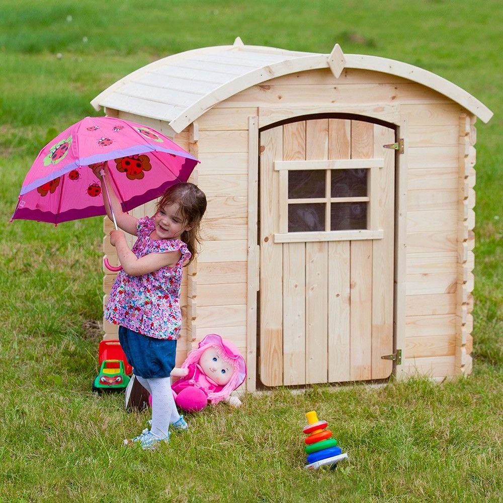 Cabane En Bois Au Toit Arrondie Pour Enfants Dès 3 Ans. Peu ... tout Abri De Jardin Toit Arrondi