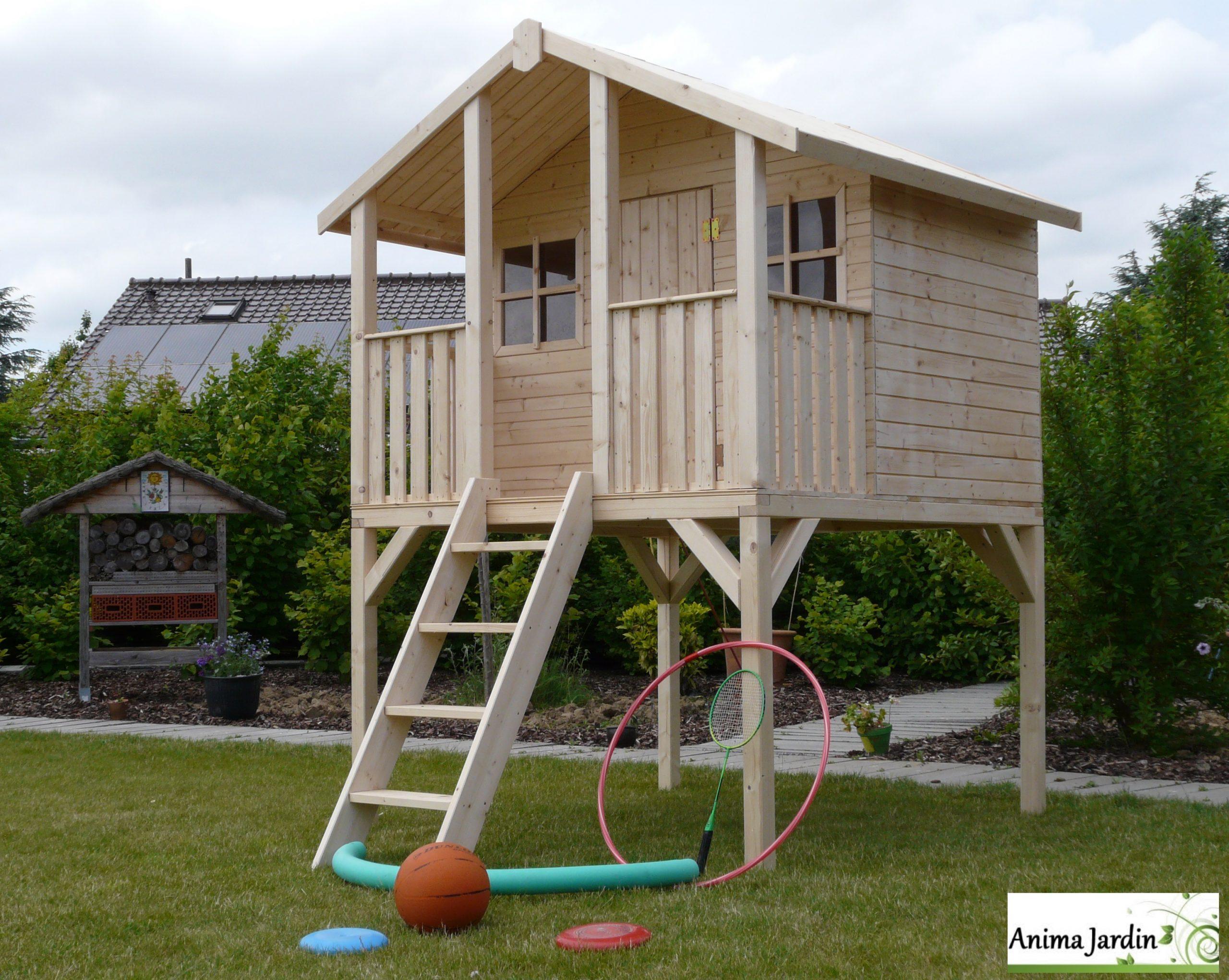 Cabane En Bois Surélevée Sur Pilotis, 3M², Toit Deux Pentes ... avec Jeux De Jardin En Bois