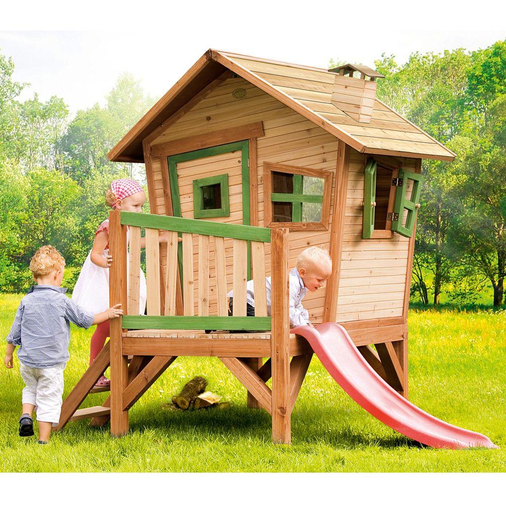 Cabane Enfant Bois Sur Pilotis + Toboggan Robin serapportantà Maison Jardin Bois Enfant