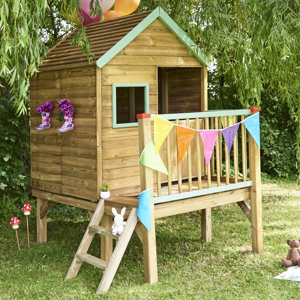 Cabane Enfant Bois Traité Winny Sur Pilotis concernant Maison Jardin Bois Enfant