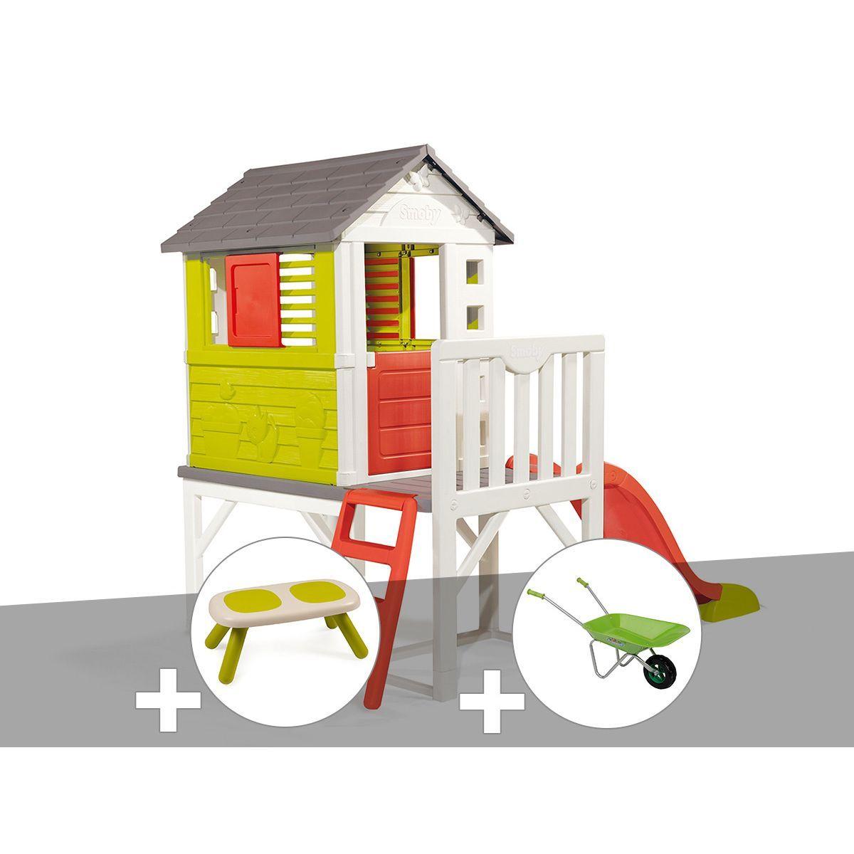 Cabane Enfant Pilotis - Smoby + Banc + Brouette - Taille ... serapportantà Brouette Jardin Enfant