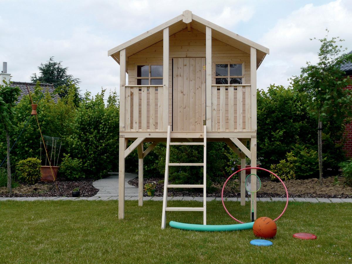 Cabane Pour Enfants Sur Pilotis - 1.8 X 1.9 M 81041 à Cabane De Jardin Enfant Bois