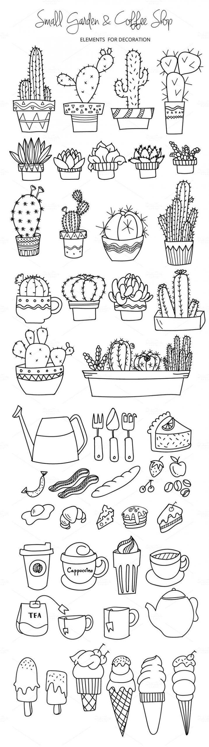 Cactus, Jardín Y Café | Idées Sketchbook, Dessin Facile À ... à Revue Jardin Facile