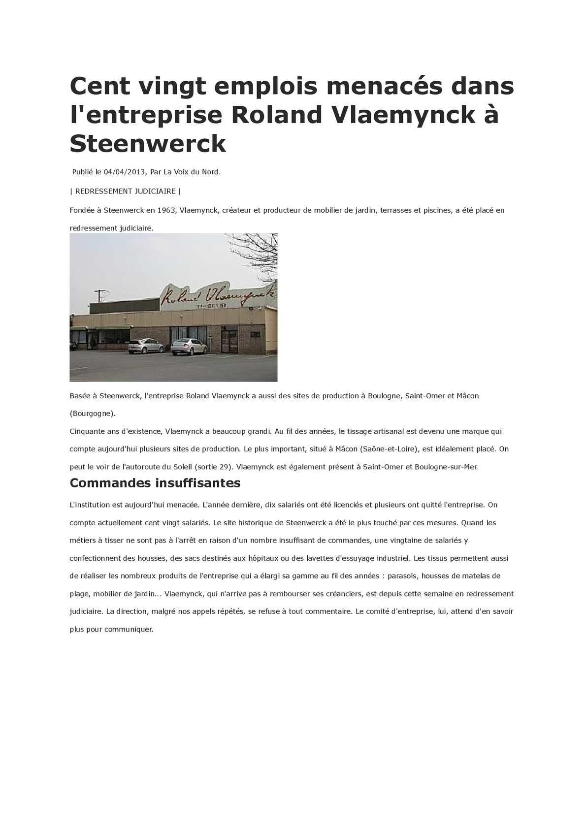 Calaméo - 120 Licenciements Pour Le Tissage Roland Wlaemynck ... serapportantà Mobilier De Jardin Vlaemynck