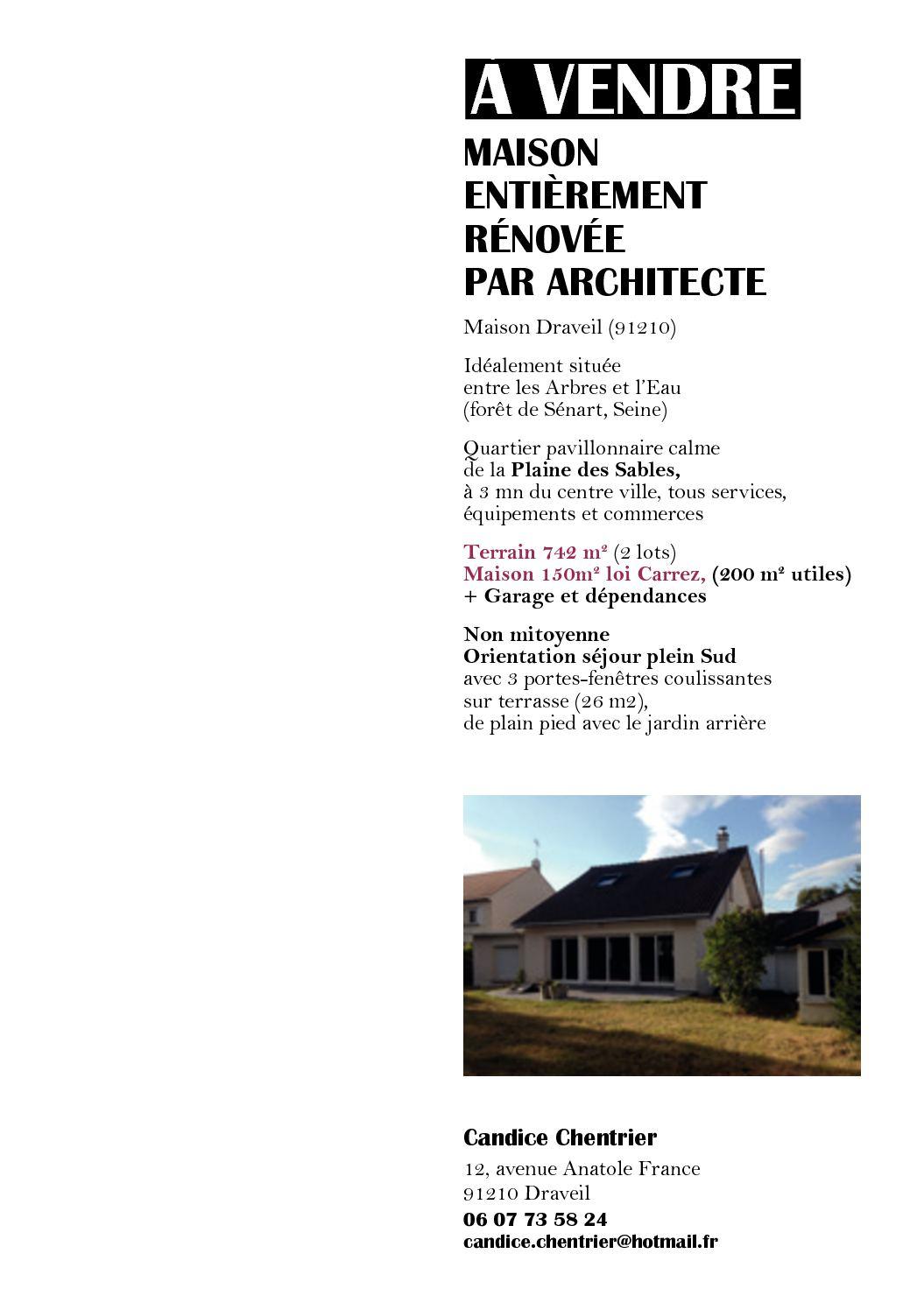 Calaméo - A Vendre Maison Draveil Entièrement Rénovée Par ... serapportantà Maison A Vendre Draveil Paris Jardin