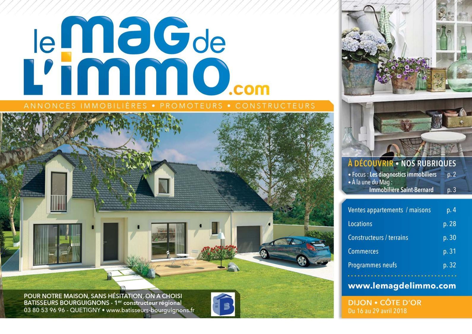 Calaméo - Le Mag De L'immo Dijon Du 16 Au 29 Avril 2018 à Location Rez De Jardin Dijon