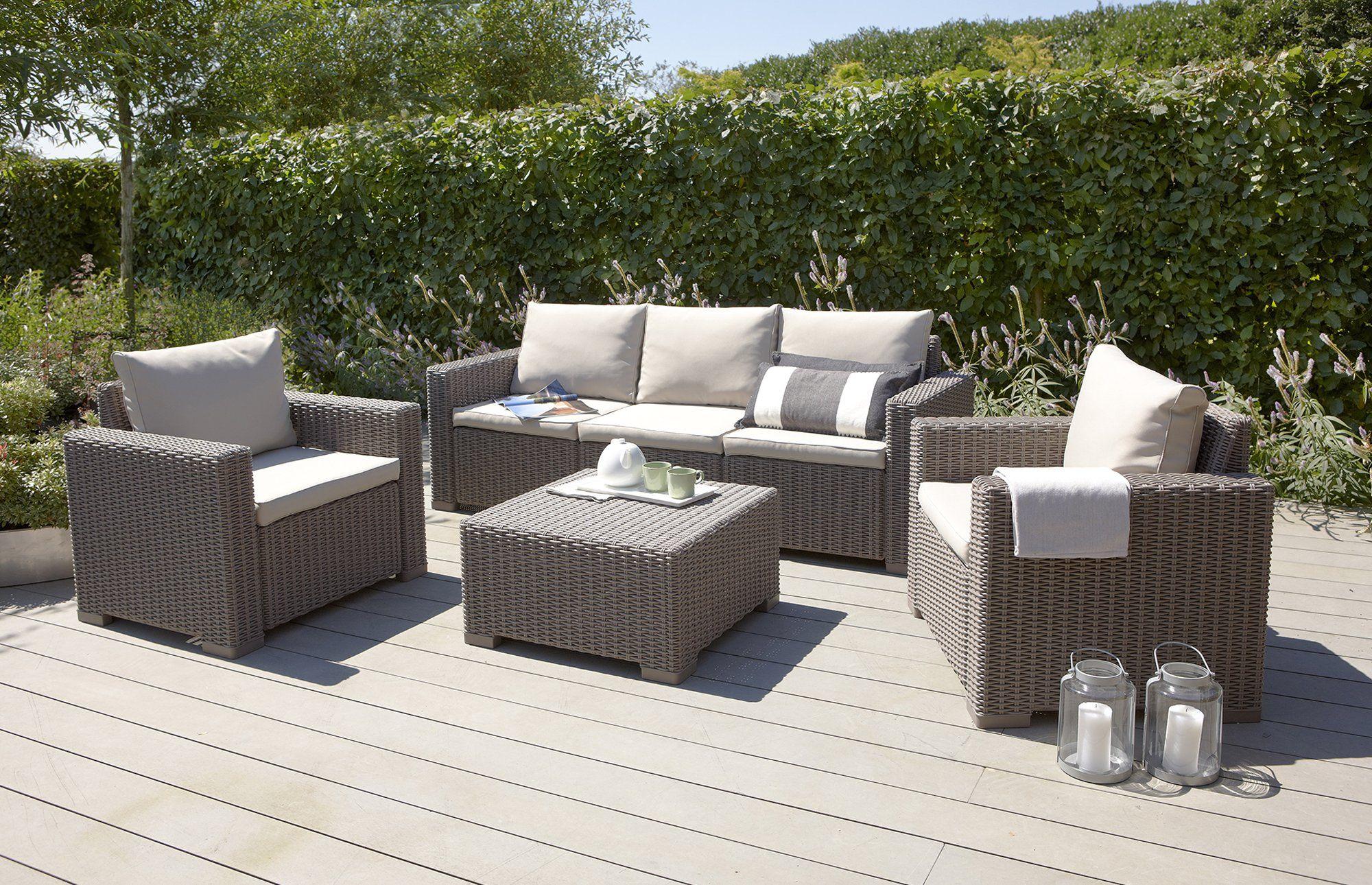 California - Lounge Set - 5 Seats - Taupe | Best Outdoor ... destiné Salon De Jardin Allibert California
