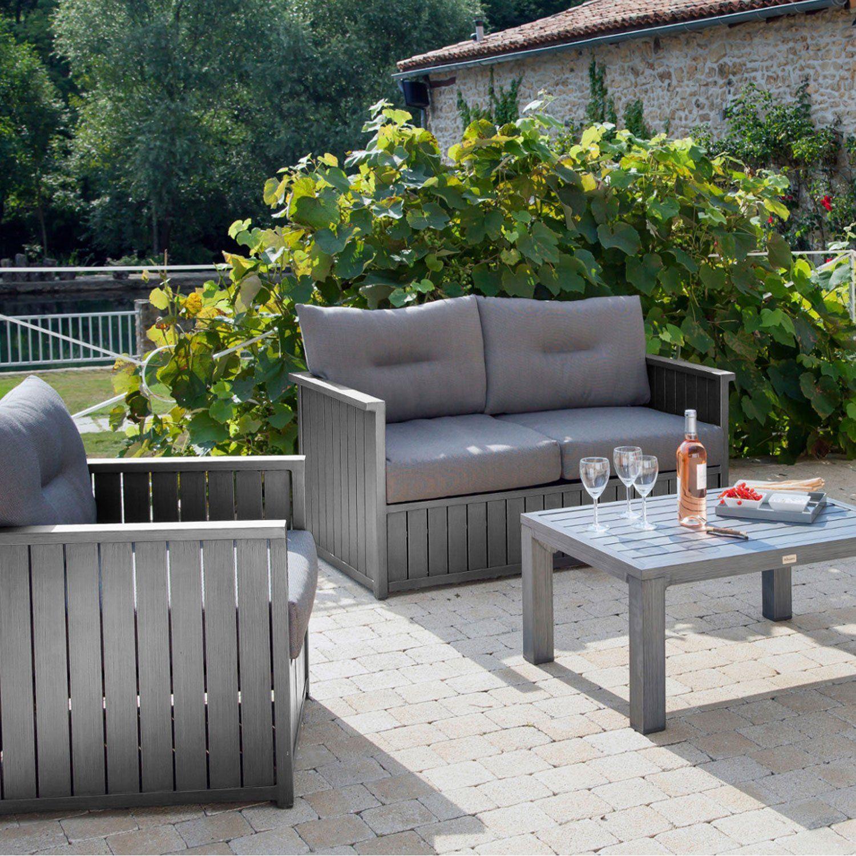Canapé 2 Places De Jardin Milano Gris Pro Loisirs | Leroy ... à Salon De Jardin Bas Pas Cher