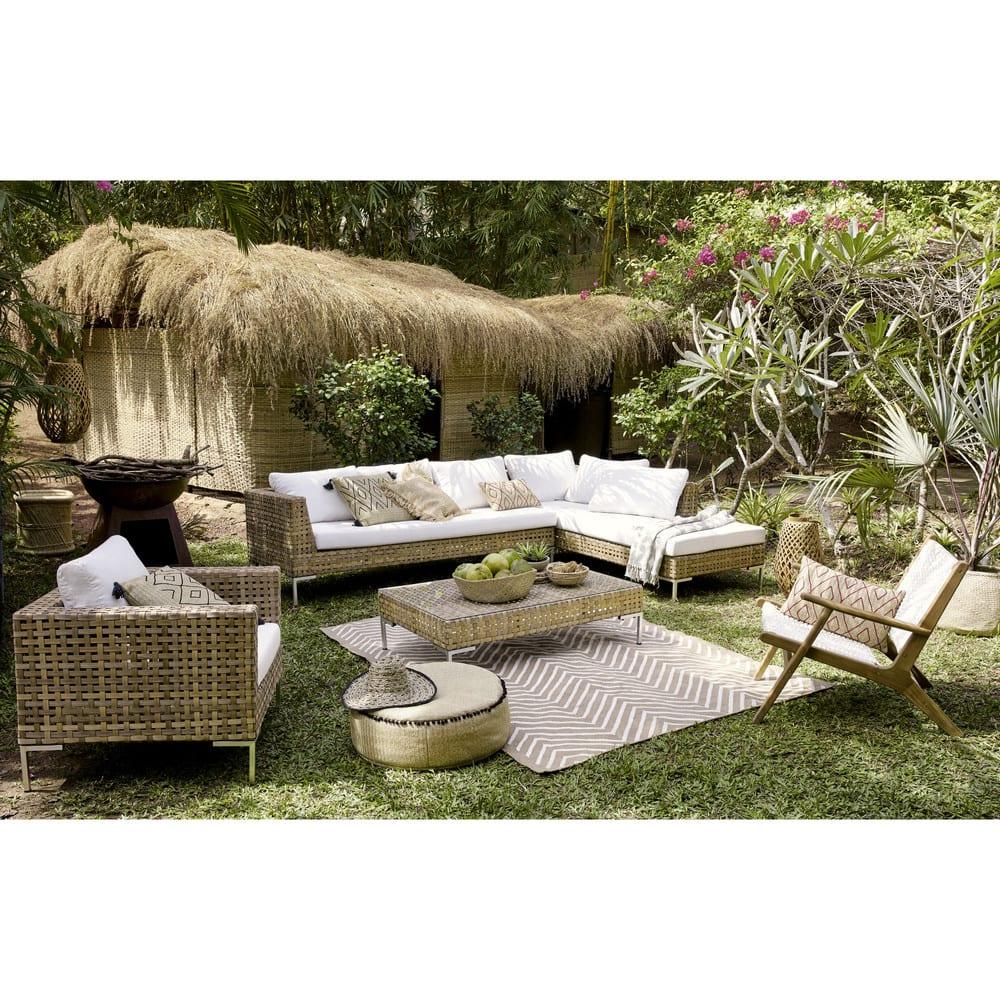 Canapé D'angle De Jardin 6 Places En Résine Tressée Marron à Salon De Jardin Nevada