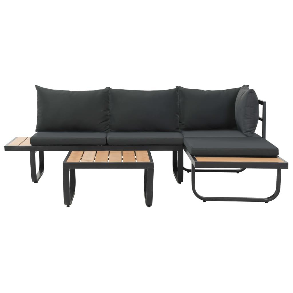 Canapé D'angle De Jardin À 2 Places Avec Coussins Aluminium Wpc intérieur Canapé D Angle De Jardin