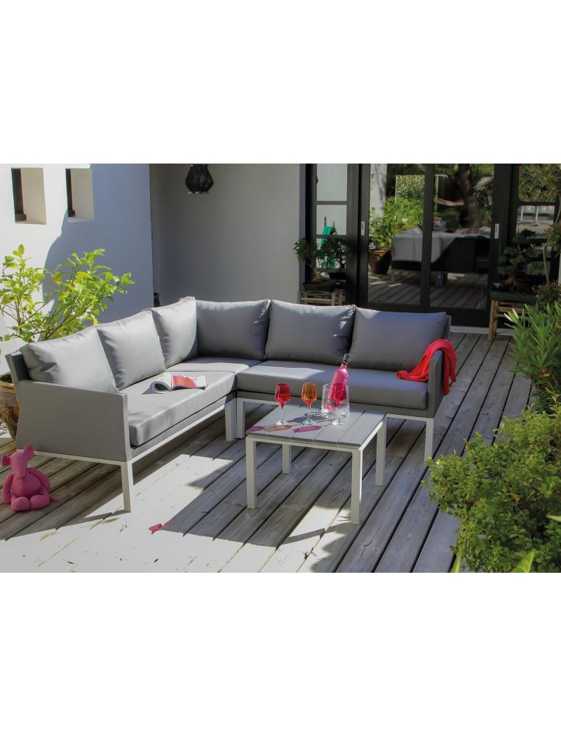Canapé D'Angle Oslo Blanc Argent + Table Basse intérieur Canapé D Angle De Jardin
