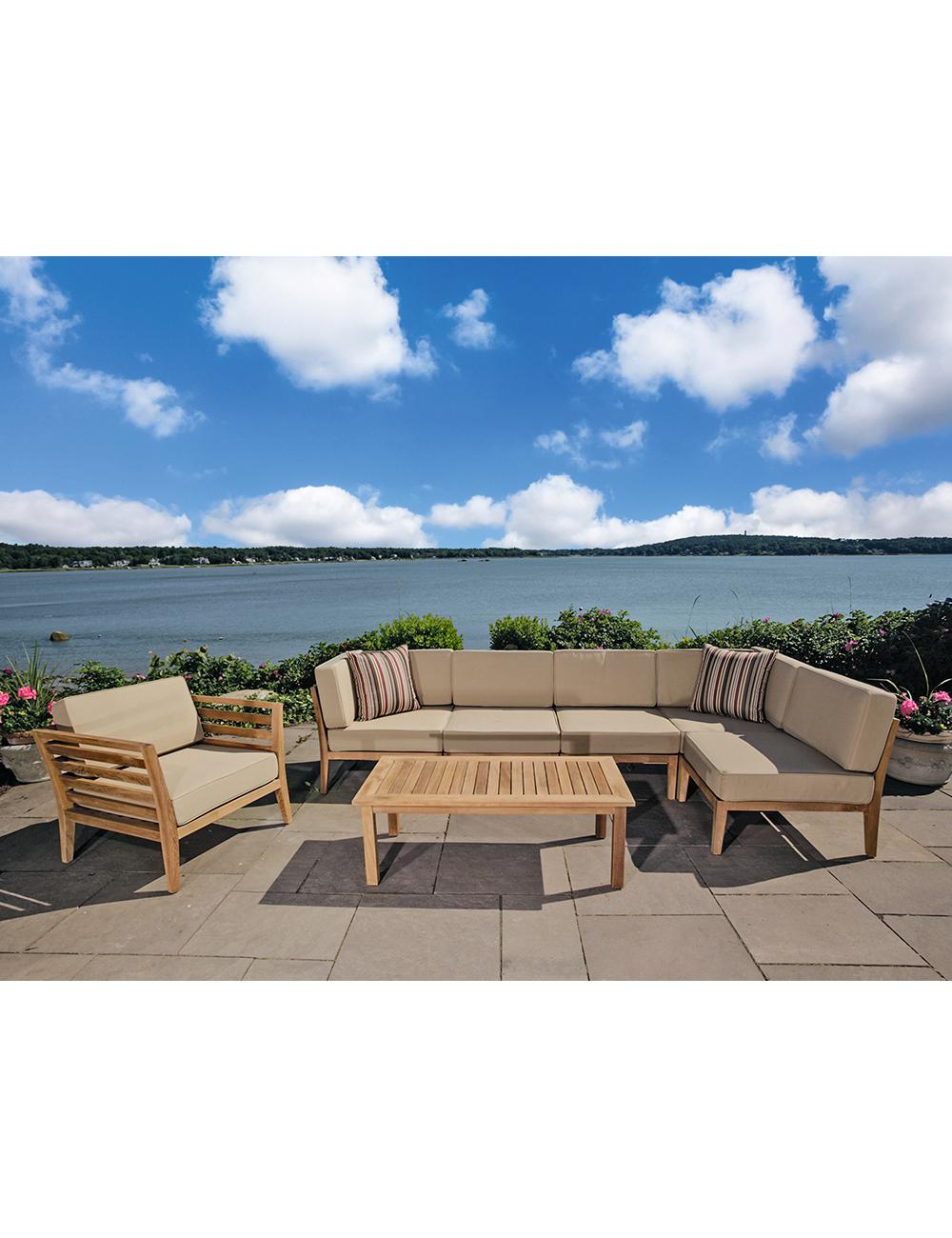 Canapé D'angle Pour Jardin «Teak Lounge» dedans Canapé D Angle De Jardin