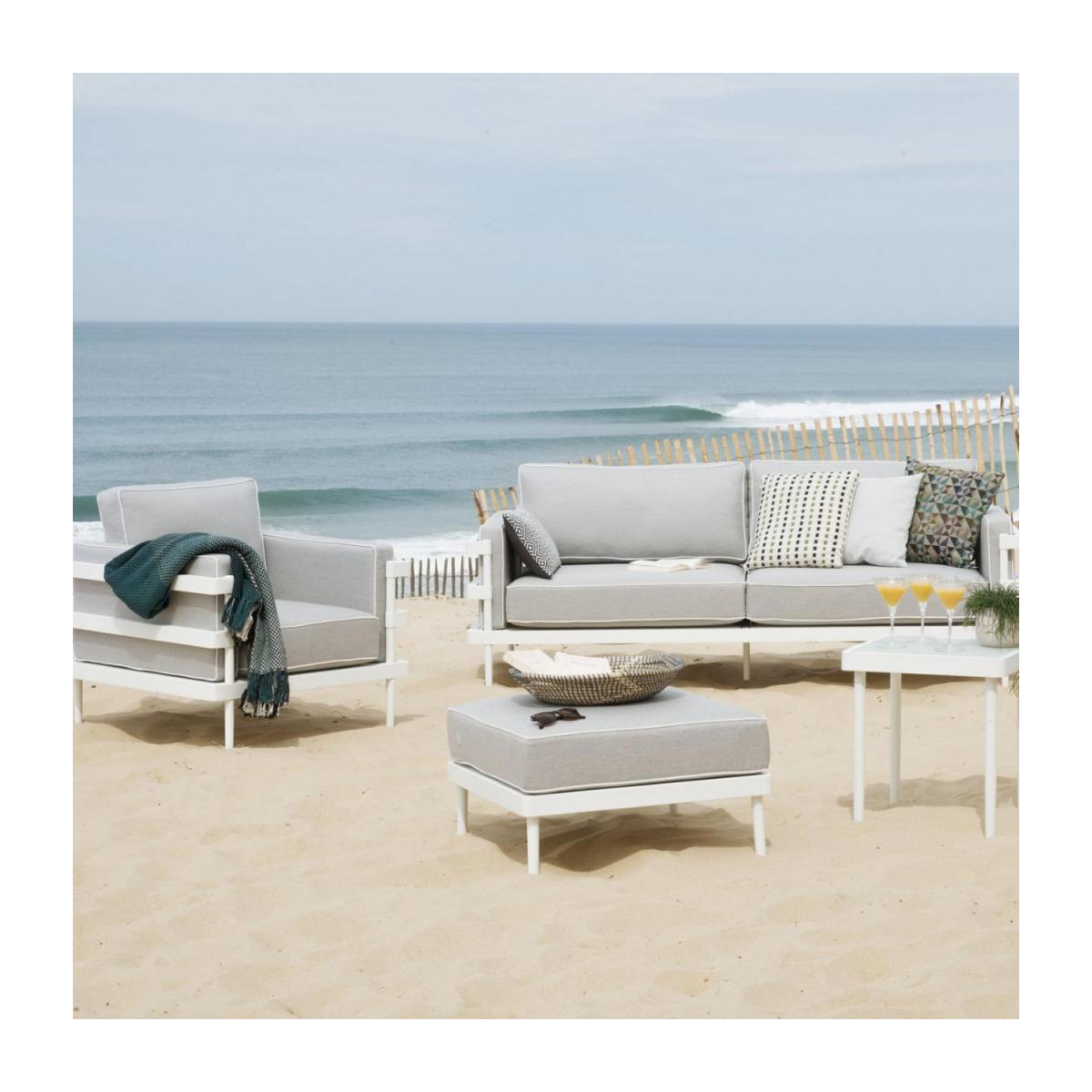 Canapé De Jardin En Aluminium Avec Coussins Sunbrella - Blanc intérieur Canape Jardin Aluminium