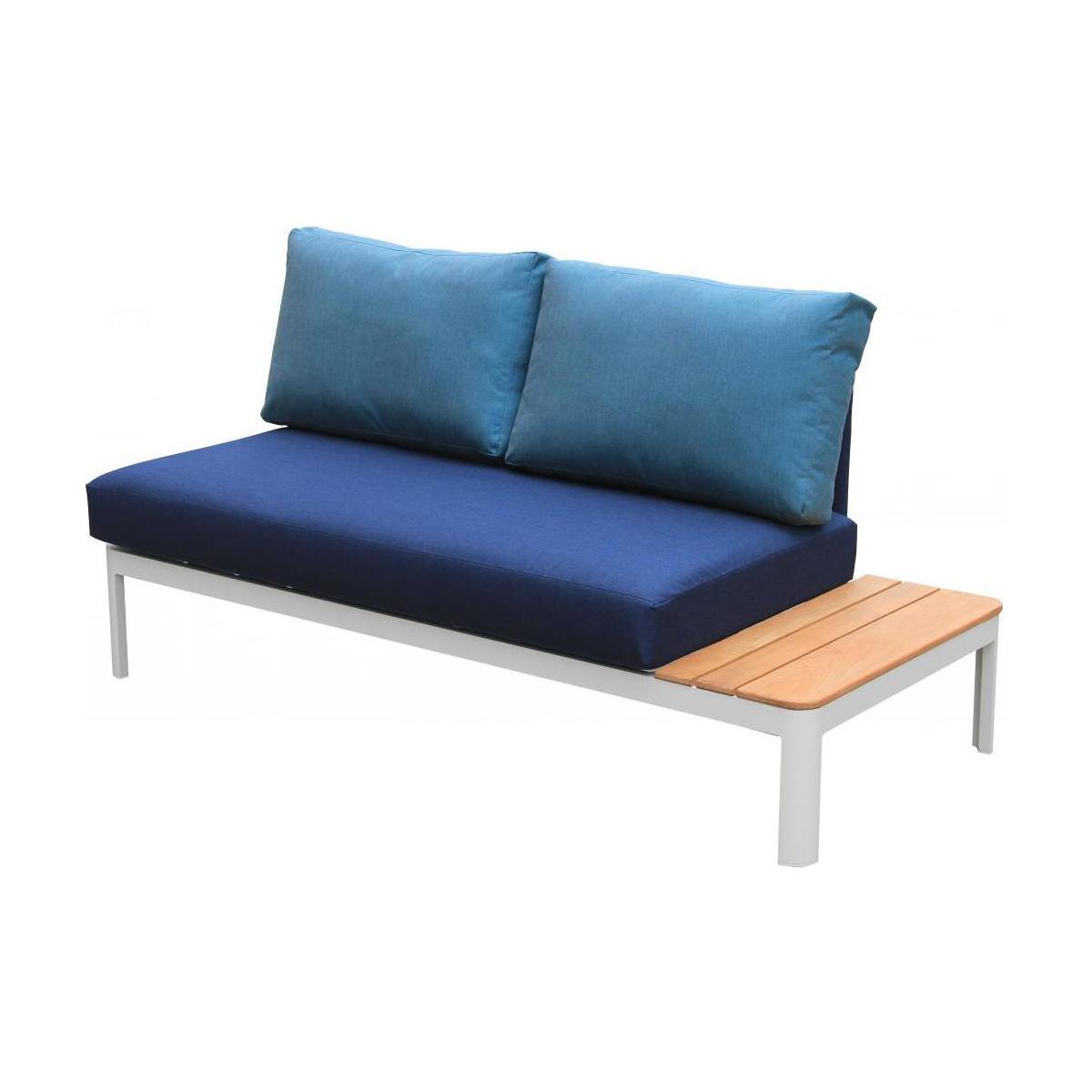 Canapé De Jardin En Aluminium Blanc Poudré Avec Table À Gauche + Coussins  Sunbrella Bleu Indigo concernant Canapé Teck Jardin