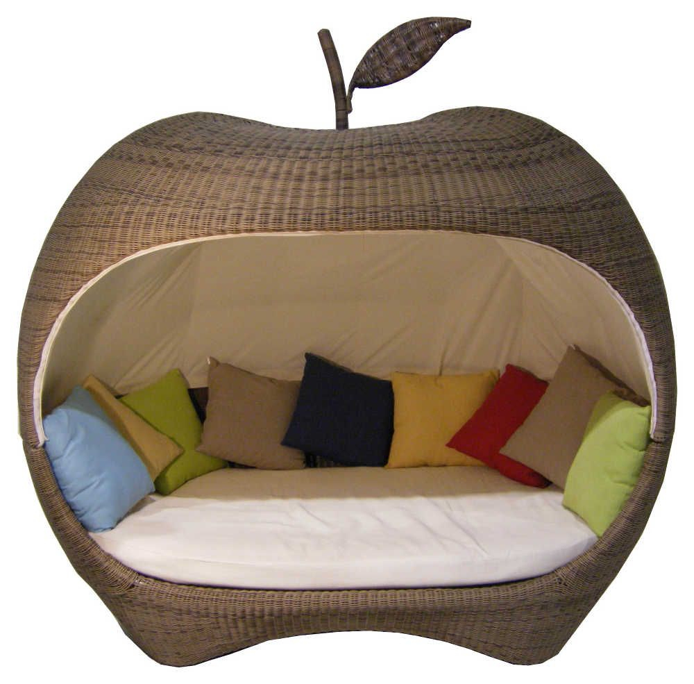 Canapé De Jardin En Forme De Pomme En Résine Tressée-1 ... encequiconcerne Salon De Jardin En Résine Tressée Pas Cher