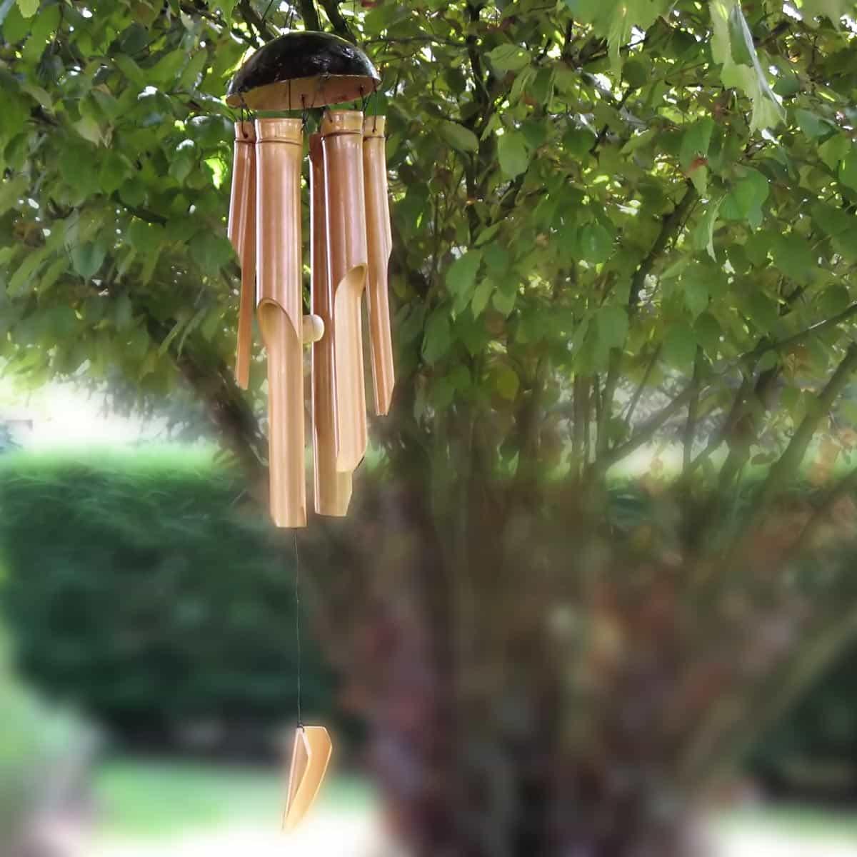 Carillon Bambou Naturel 30Cm avec Carillon Bambou Jardin