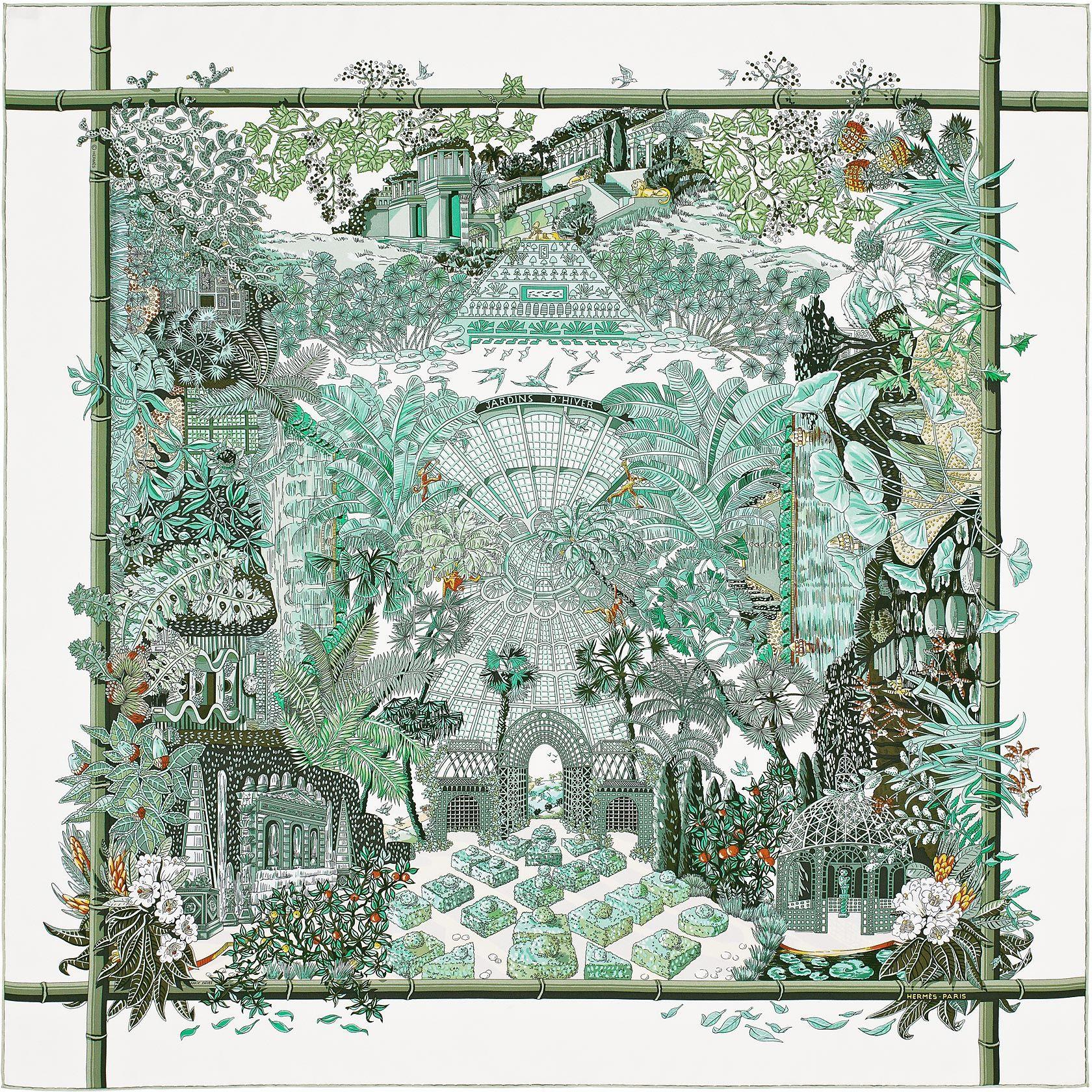 Carré 90 X 90 Cm Hermès | Jardins D'hiver By Annie Faivre Aw ... pour Salin De Jardin