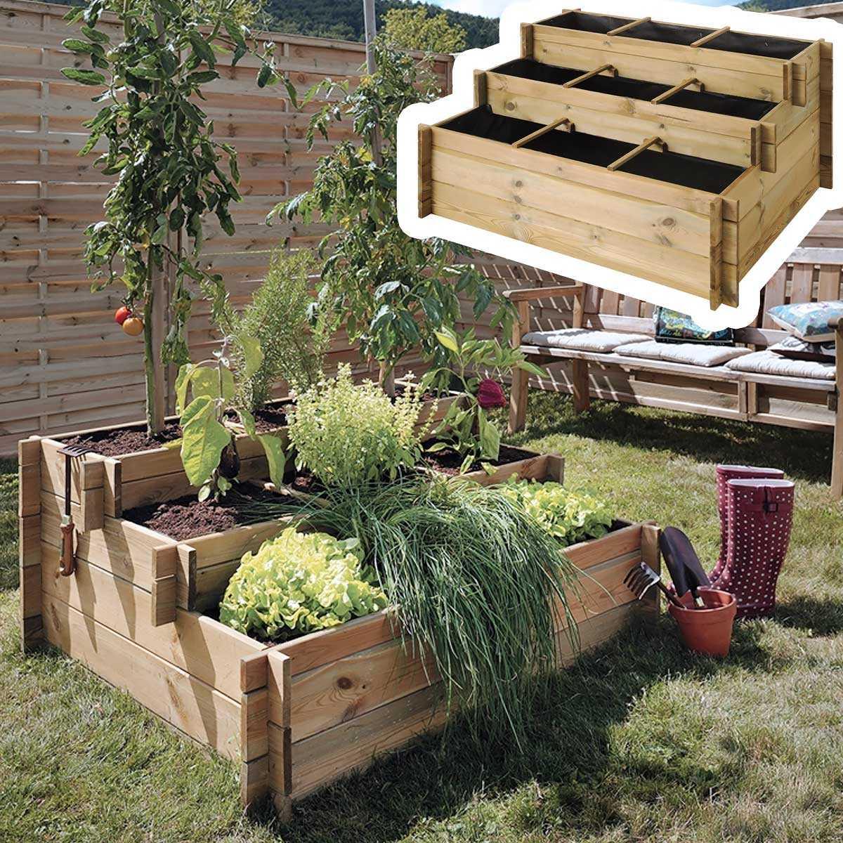 Carré Potager 3 Étages En Bois Traité + Géotextile encequiconcerne Fabriquer Un Jardin En Hauteur