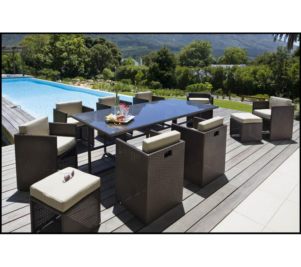 Carrefour Ensemble Table Et 8 Fauteuils De Jardin Set ... pour Salon De Jardin Resine Carrefour