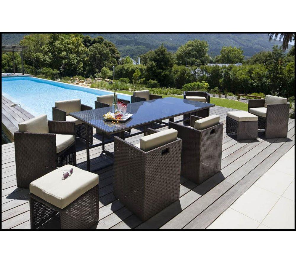 Carrefour Ensemble Table Et 8 Fauteuils De Jardin Set ... tout Salon Jardin Resine Carrefour