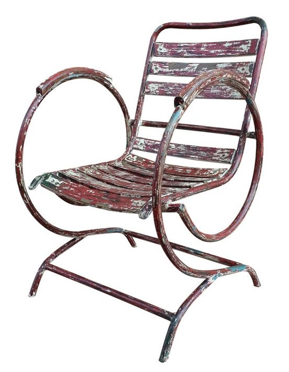 Casa Padrino Art Nouveau Chaise De Jardin Avec Accoudoirs Antique Rouge 60  X 45 X H. 85 Cm - Mobilier De Jardin Fait Main à Casa Chaise De Jardin