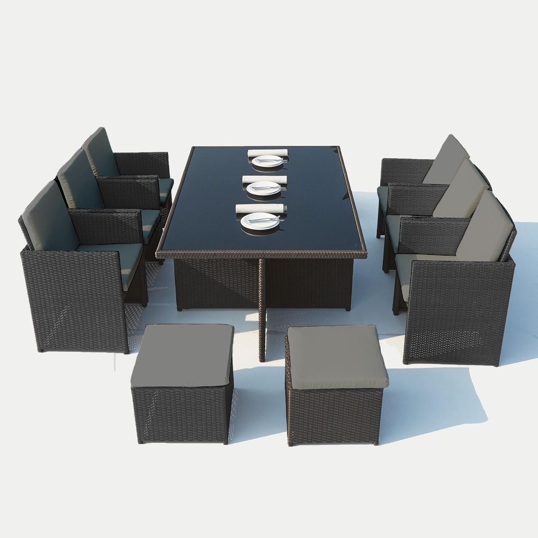 Cassis 10 Noir/gris avec Salon De Jardin Tressé Encastrable