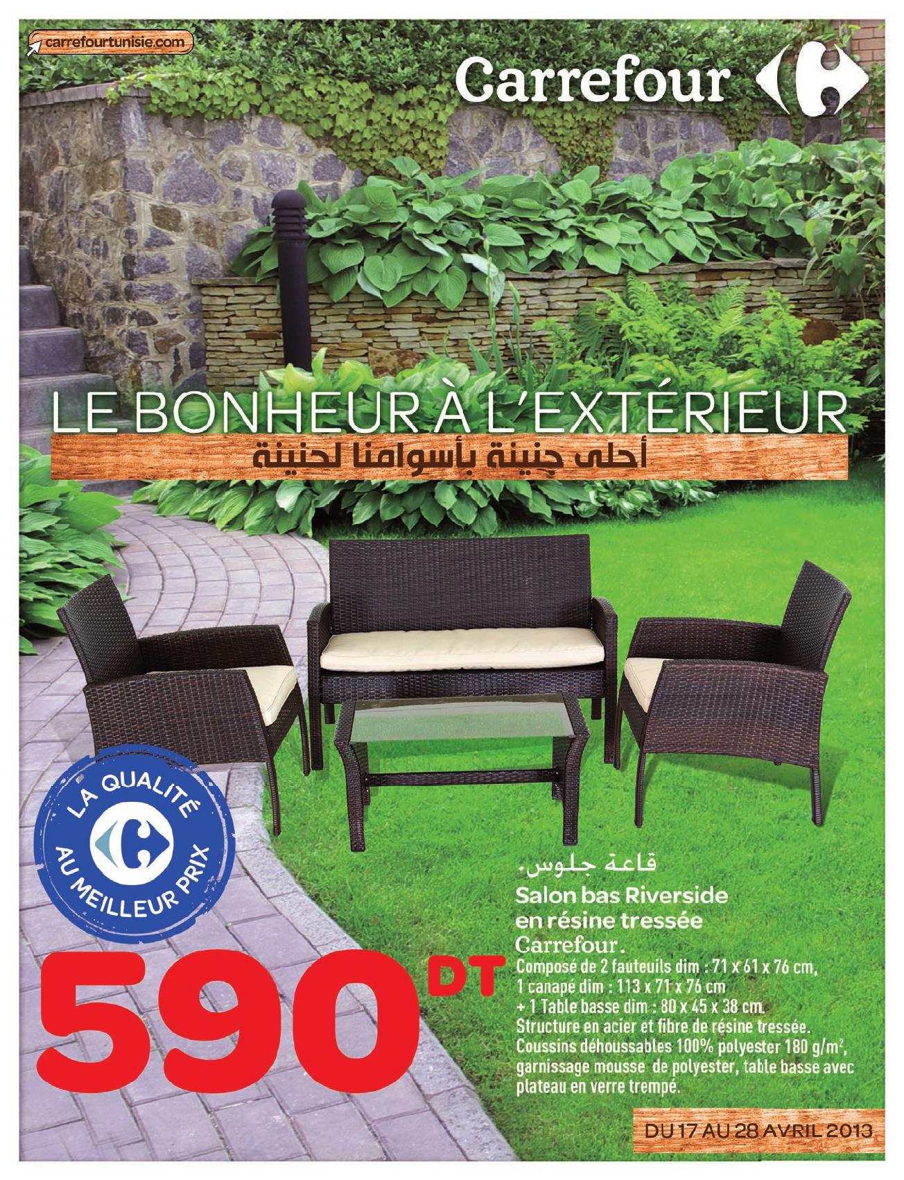 Catalogue Carrefour Le Bonheur L'extrieur dedans Salon De Jardin Résine Tressée Carrefour