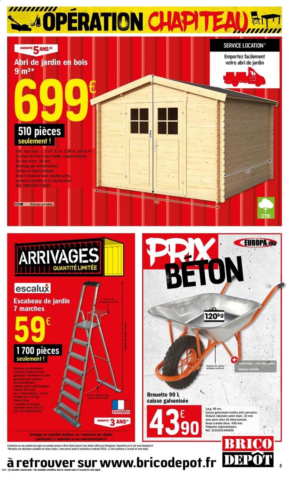 Catalogue, Prospectus, Pub Brico Dépôt 20.03.2020 - 02.04 ... serapportantà Brico Depot Cabane De Jardin
