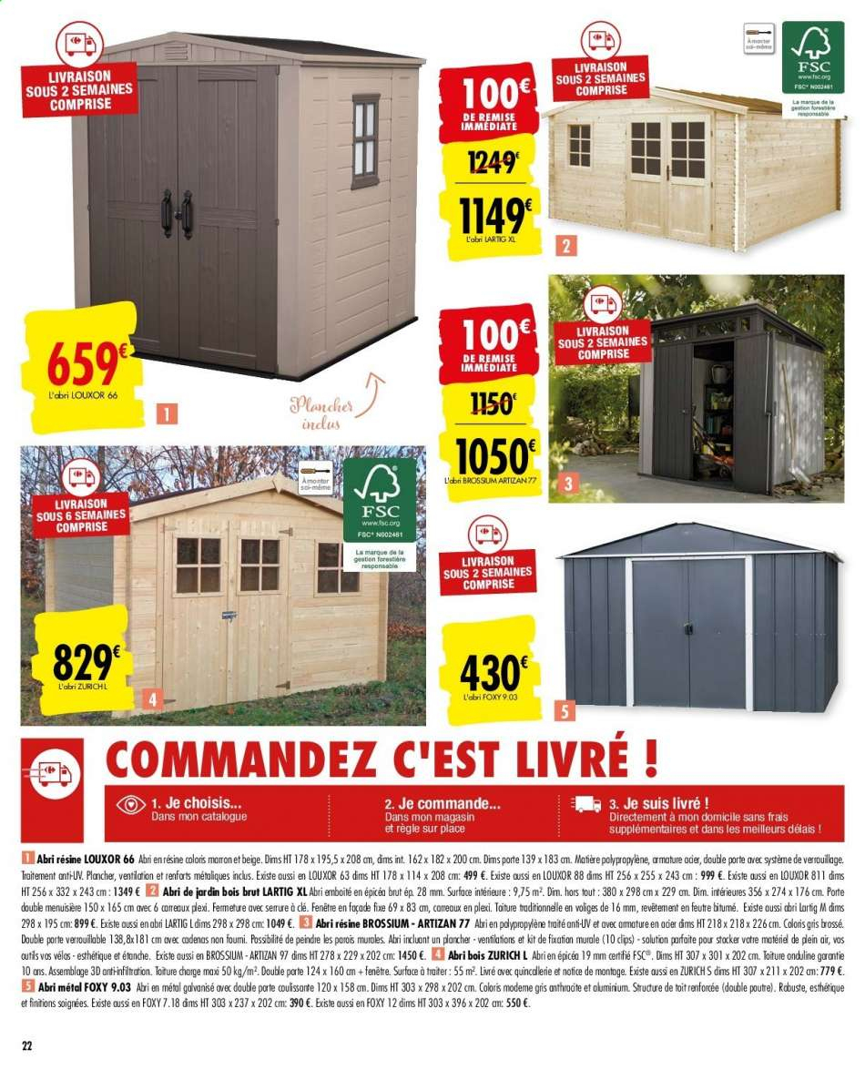Catalogue, Prospectus, Pub Carrefour 25.02.2020 - 16.03.2020 ... avec Abri De Jardin En Bois Carrefour