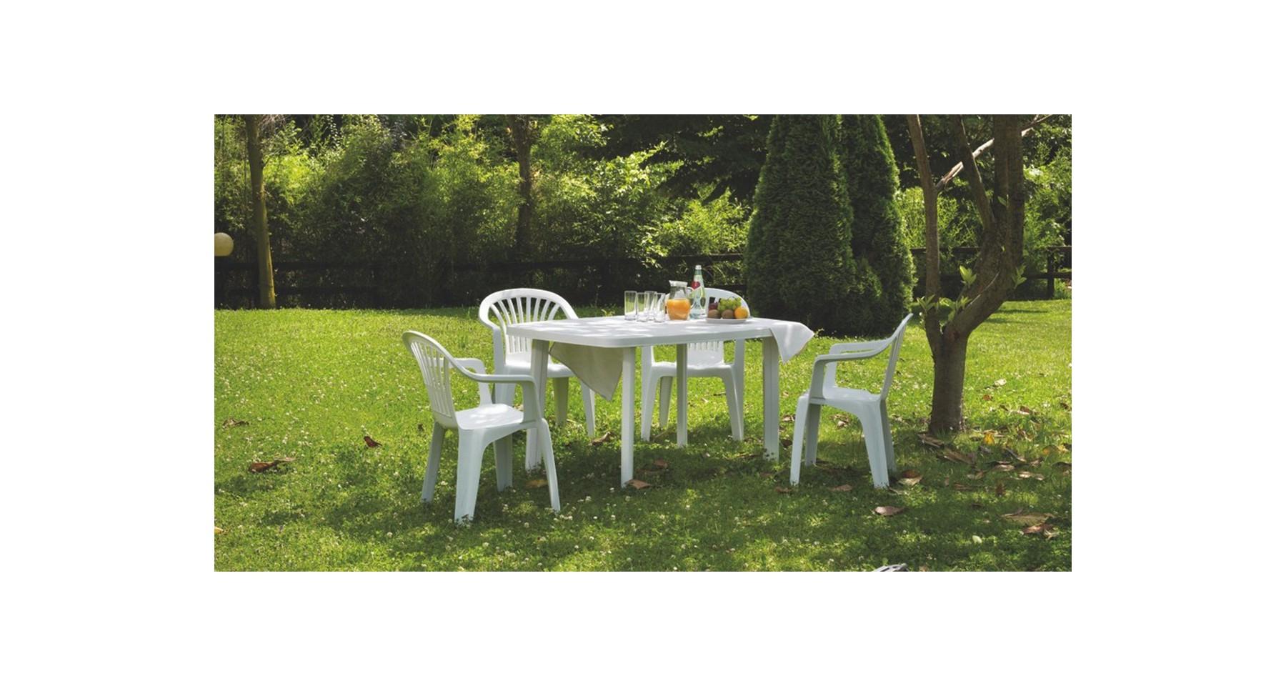 Chaise De Jardin Avec Accoudoirs En Plastique Blanc Empilable Tiny dedans Table Et Chaise De Jardin En Plastique