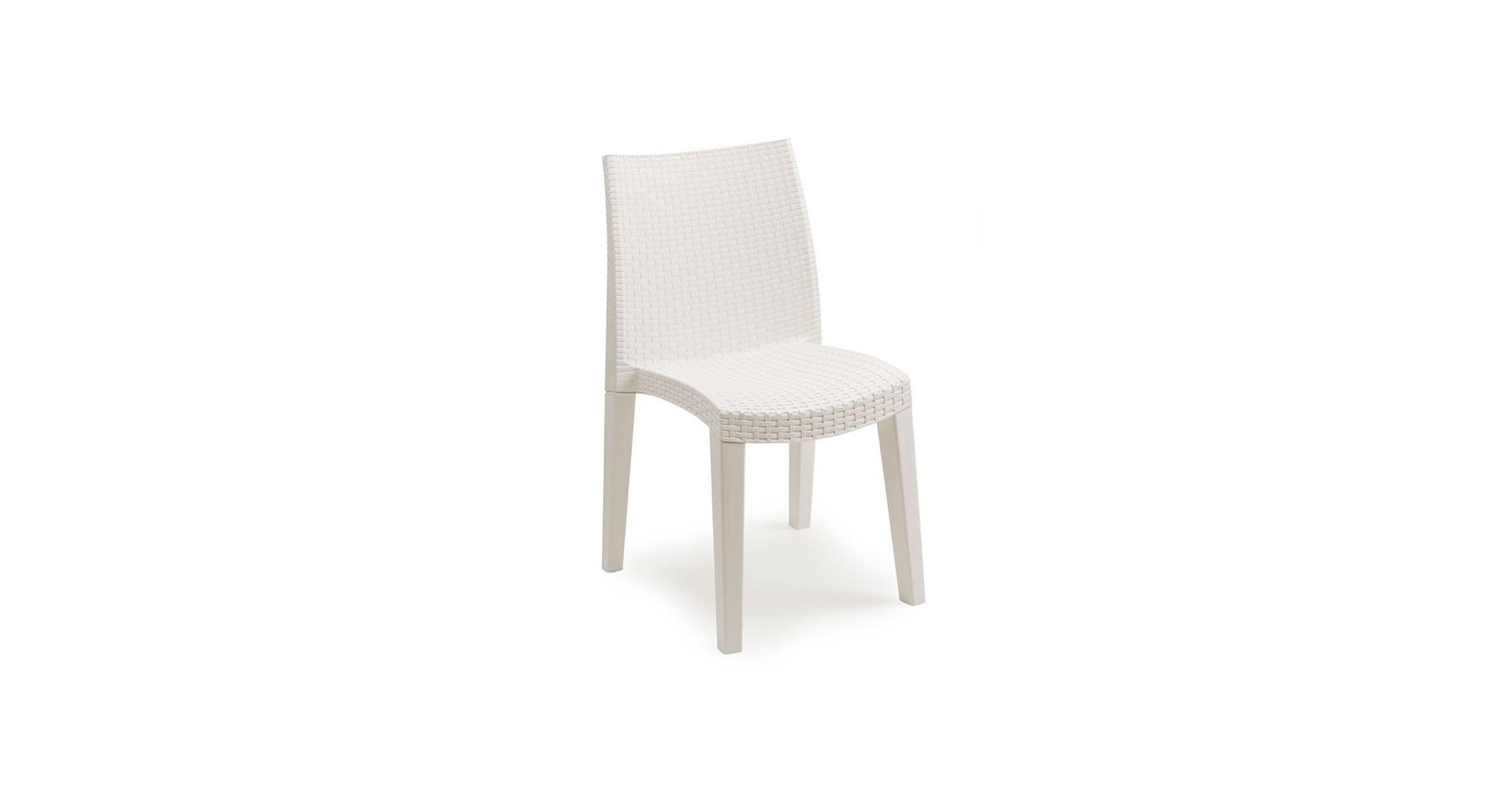 Chaise De Jardin Empilable Blanche Style Résine Tressée Bliss intérieur Chaise De Jardin Blanche