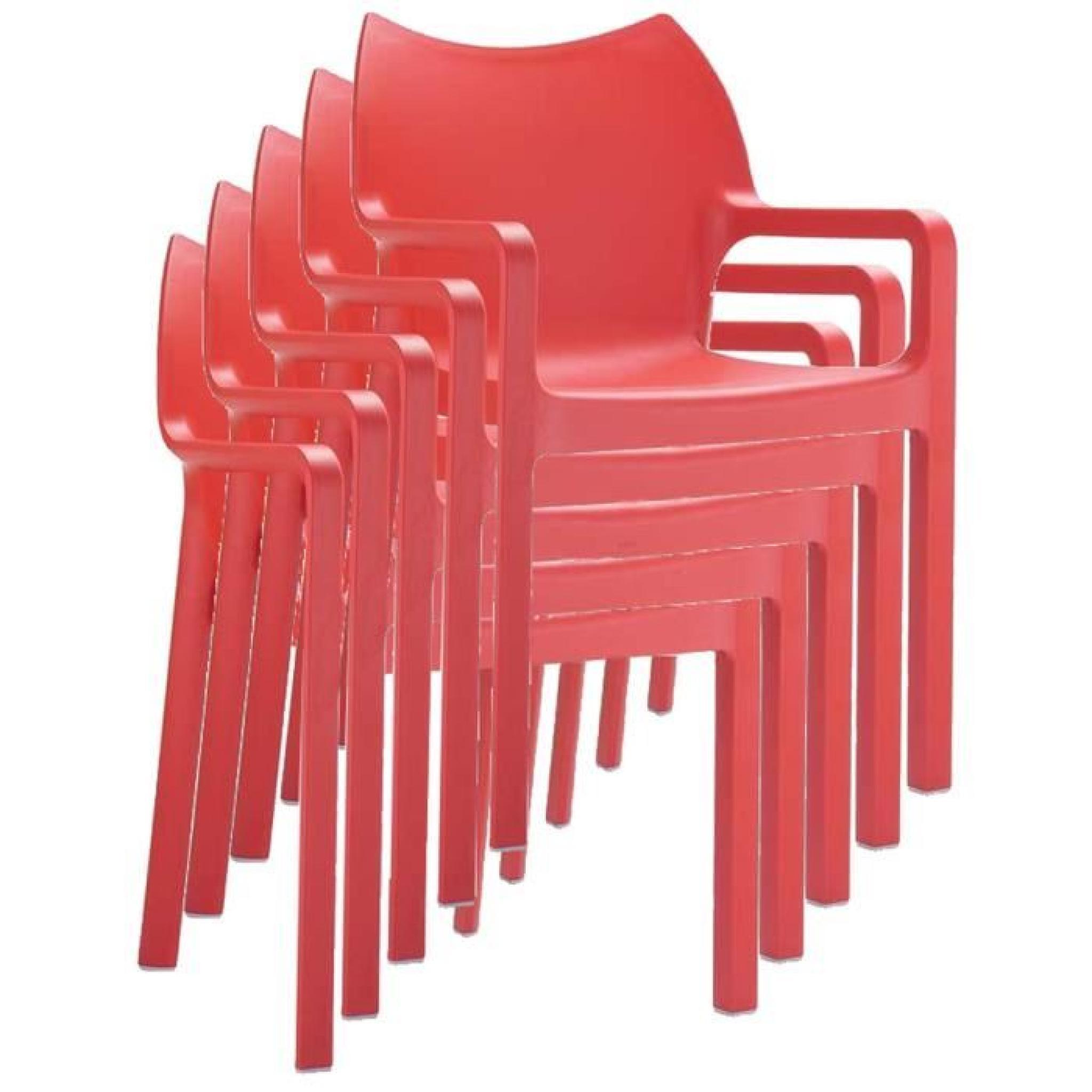 Chaise De Jardin Empilable En Plastique, Rouge tout Chaise De Jardin Pas Chere
