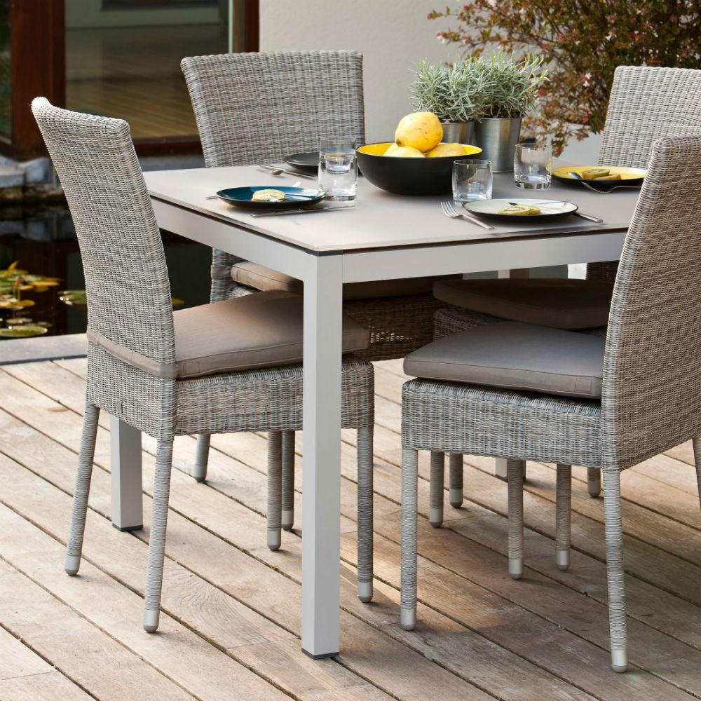 Chaise De Jardin En Aluminium Et Résine Tressée intérieur Table De Jardin En Resine Tressée