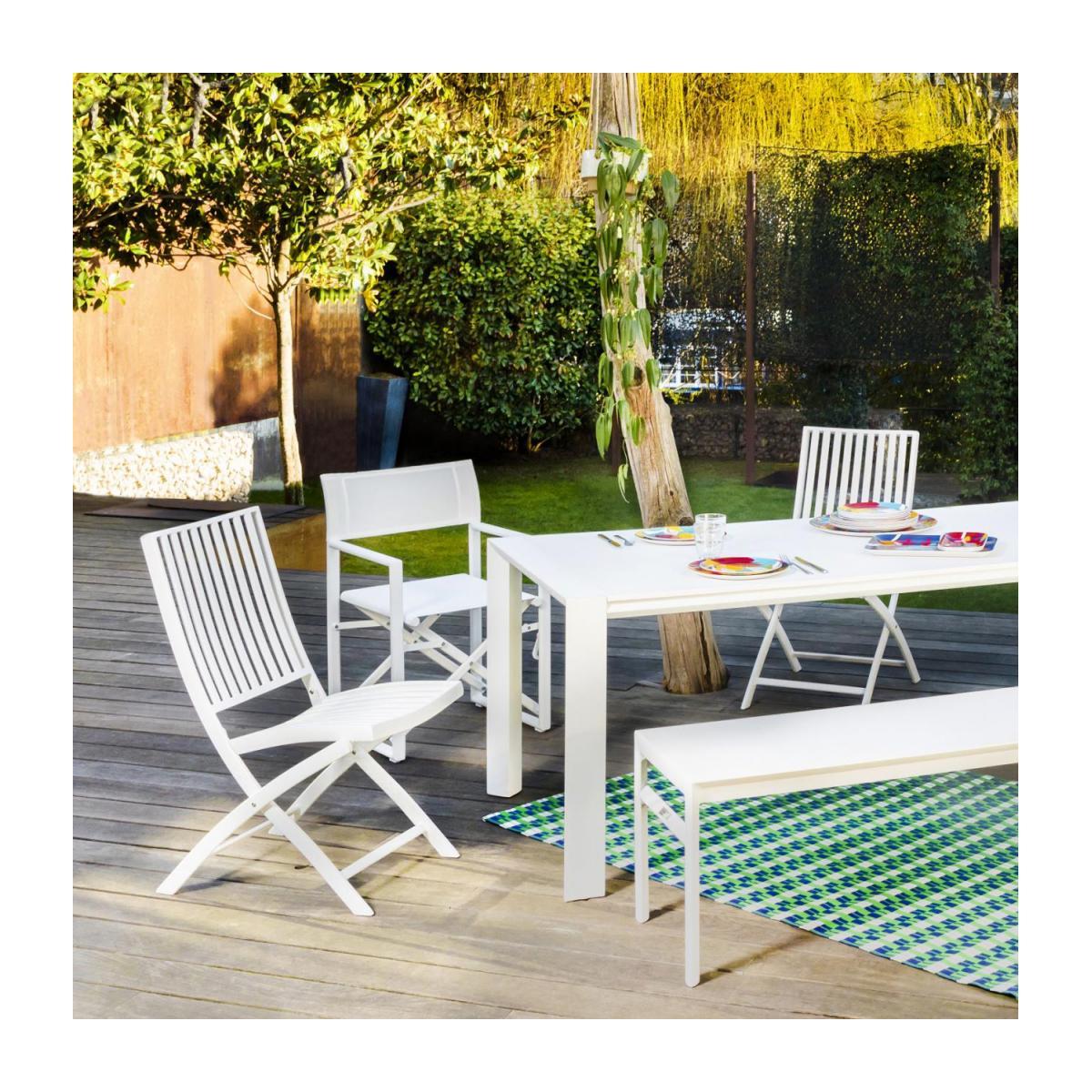 Chaise De Jardin En Aluminium Laqué Blanc avec Table Et Chaise De Jardin En Aluminium