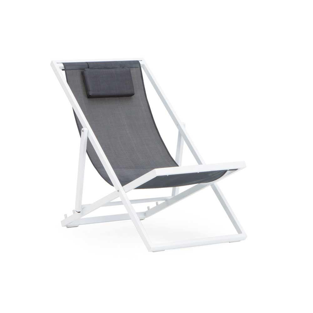 Chaise Longue Pliante Jardin Aluminium Blanc Et Textilene Gris dedans Chaise Longue De Jardin Pas Cher