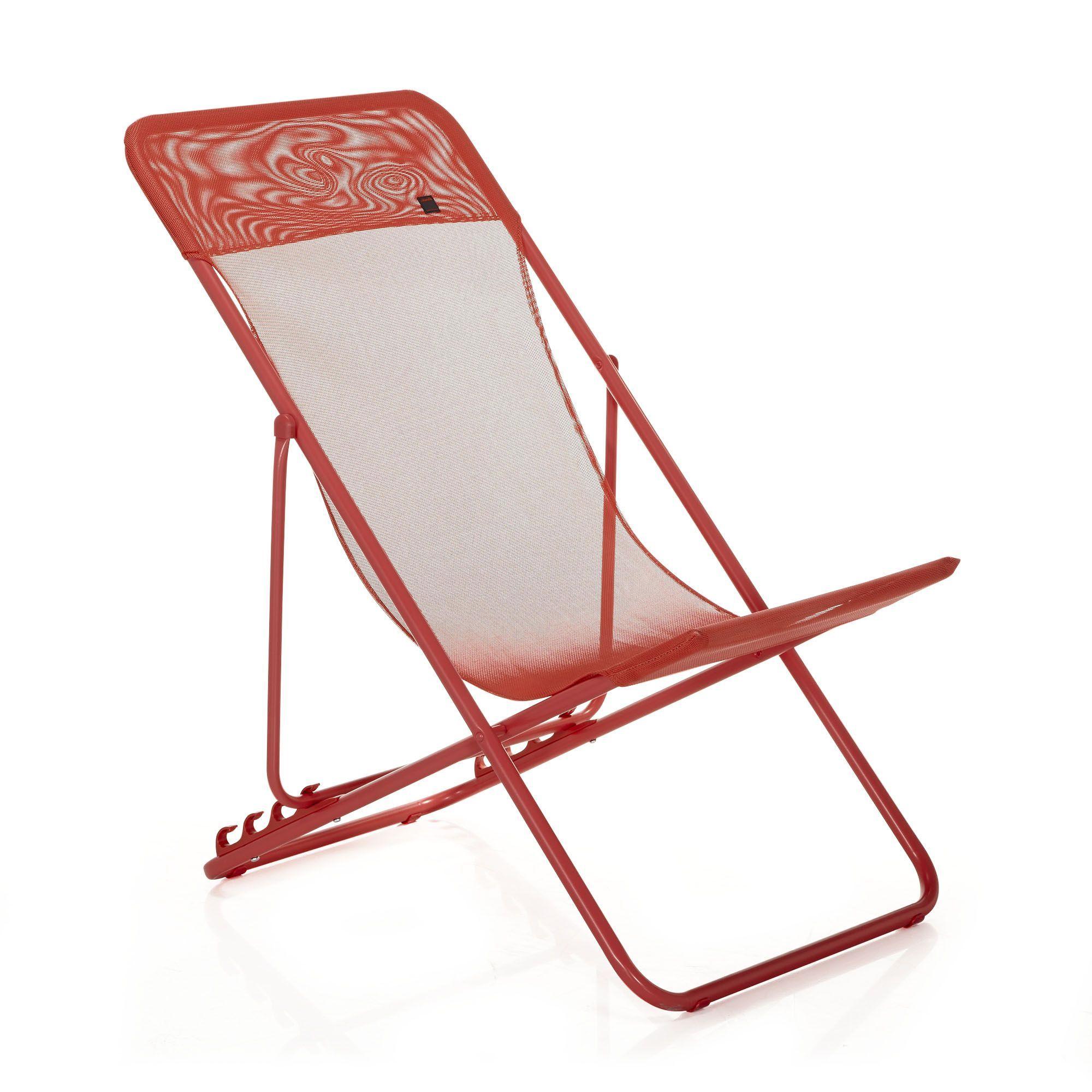 Chaise Longue Pliante Rouge Lafuma - Maxi - Chaises Longues ... tout Chaise Longue De Jardin Lafuma