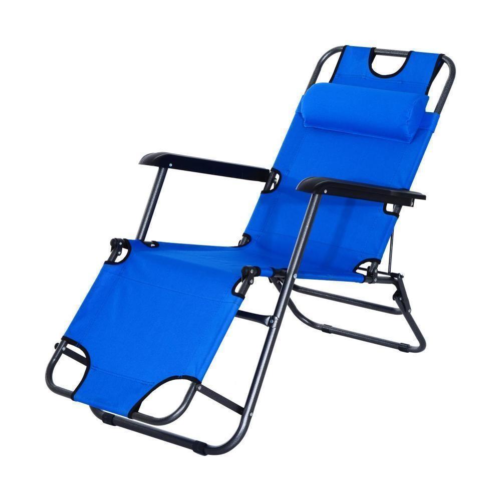 Chaise Longue Transat 2 En 1 Pliant Inclinable Multiposition Bleu dedans Gifi Transat Jardin
