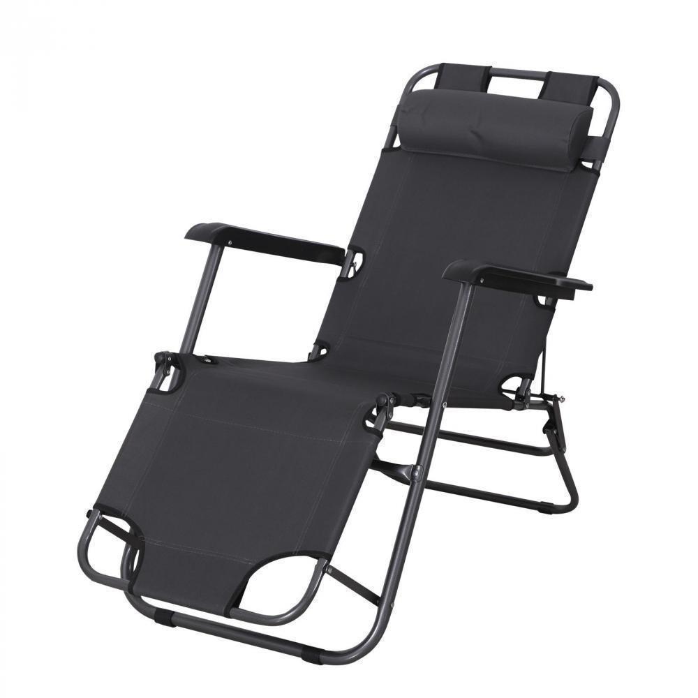 Chaise Longue Transat 2 En 1 Pliant Inclinable Multiposition Gris avec Salon De Jardin Pliant