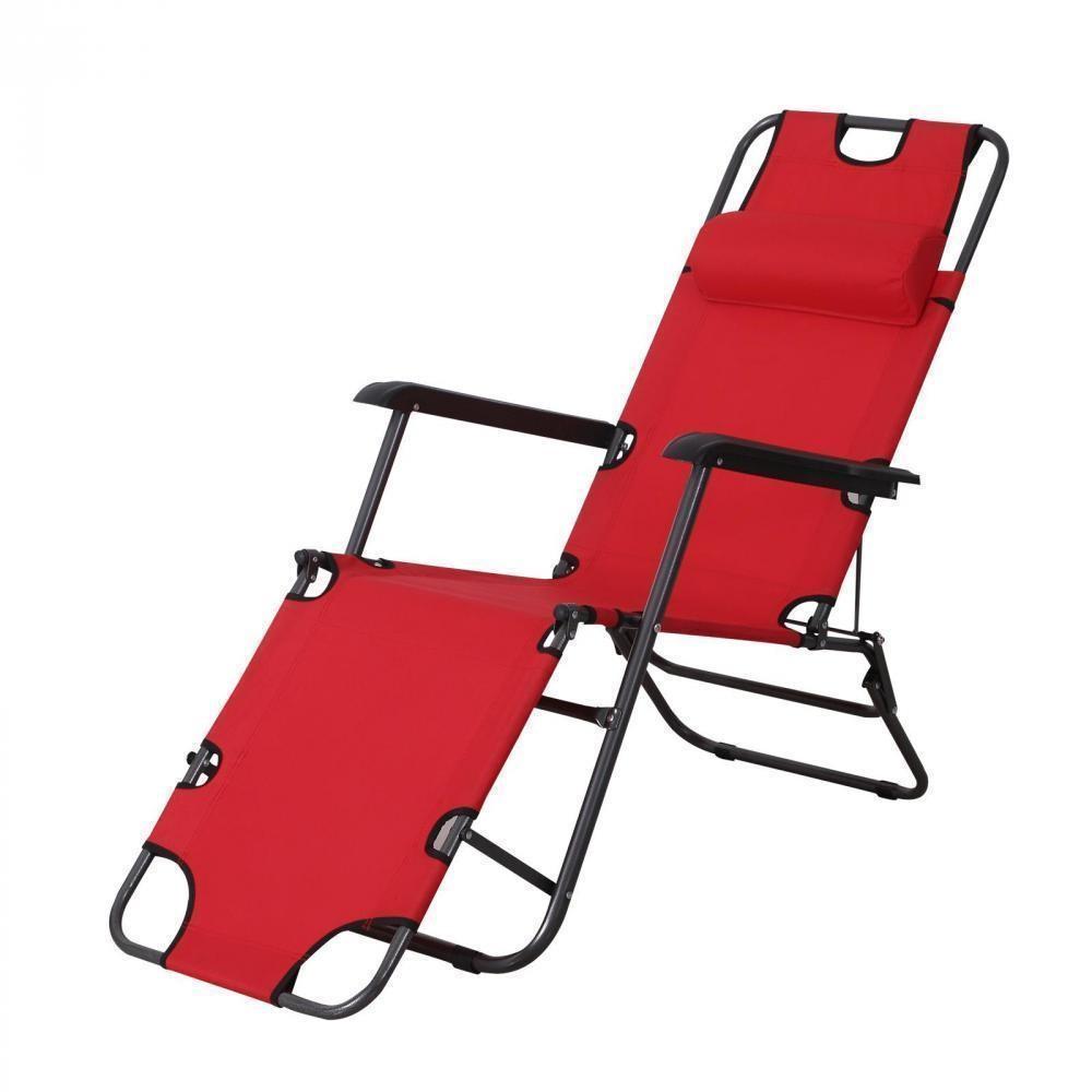 Chaise Longue Transat 2 En 1 Pliant Inclinable Multiposition Rouge pour Fauteuil De Jardin Pliant Multiposition