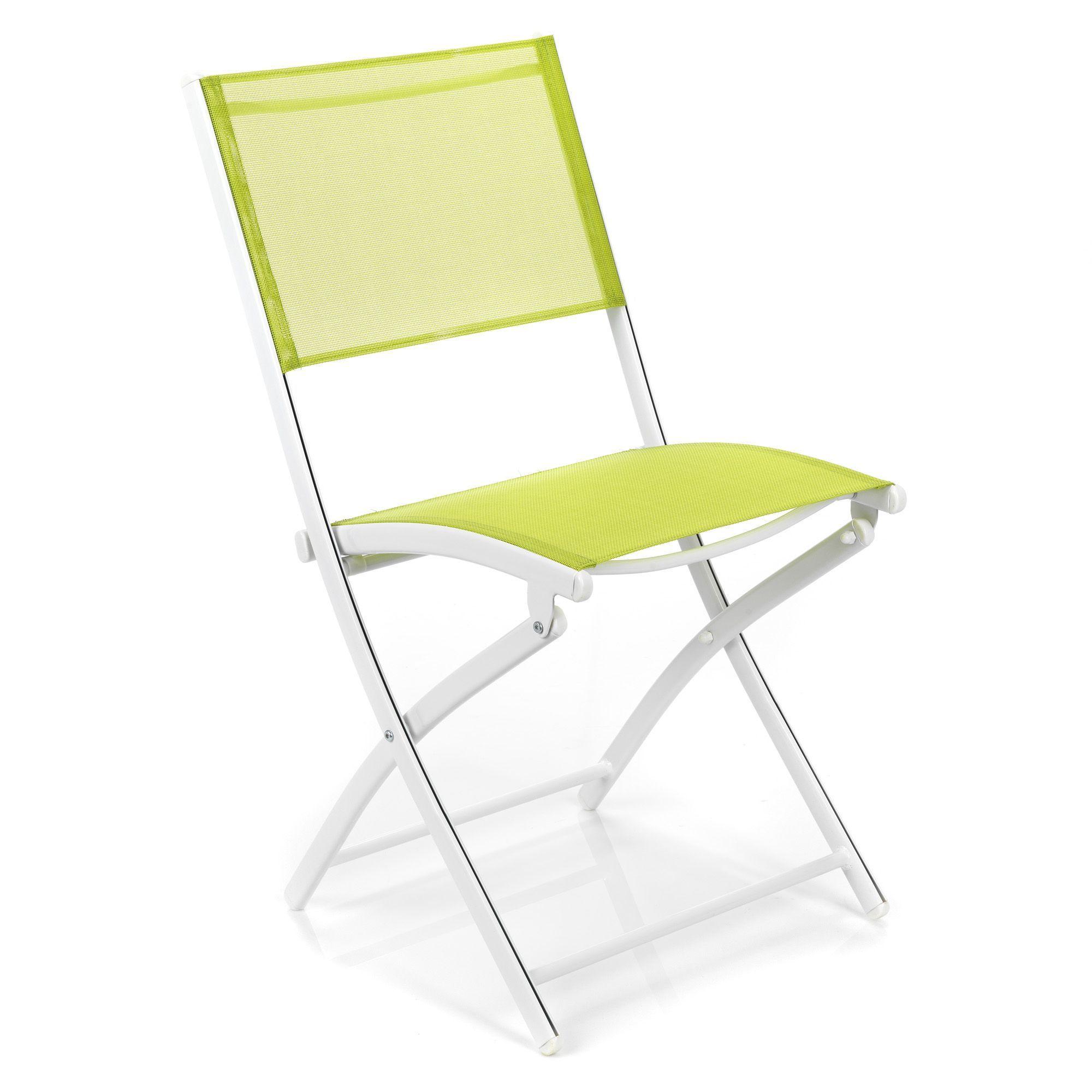 Chaise Pliante De Jardin Blanc Et Vert Structure Blanche ... pour Alinea Chaise Jardin