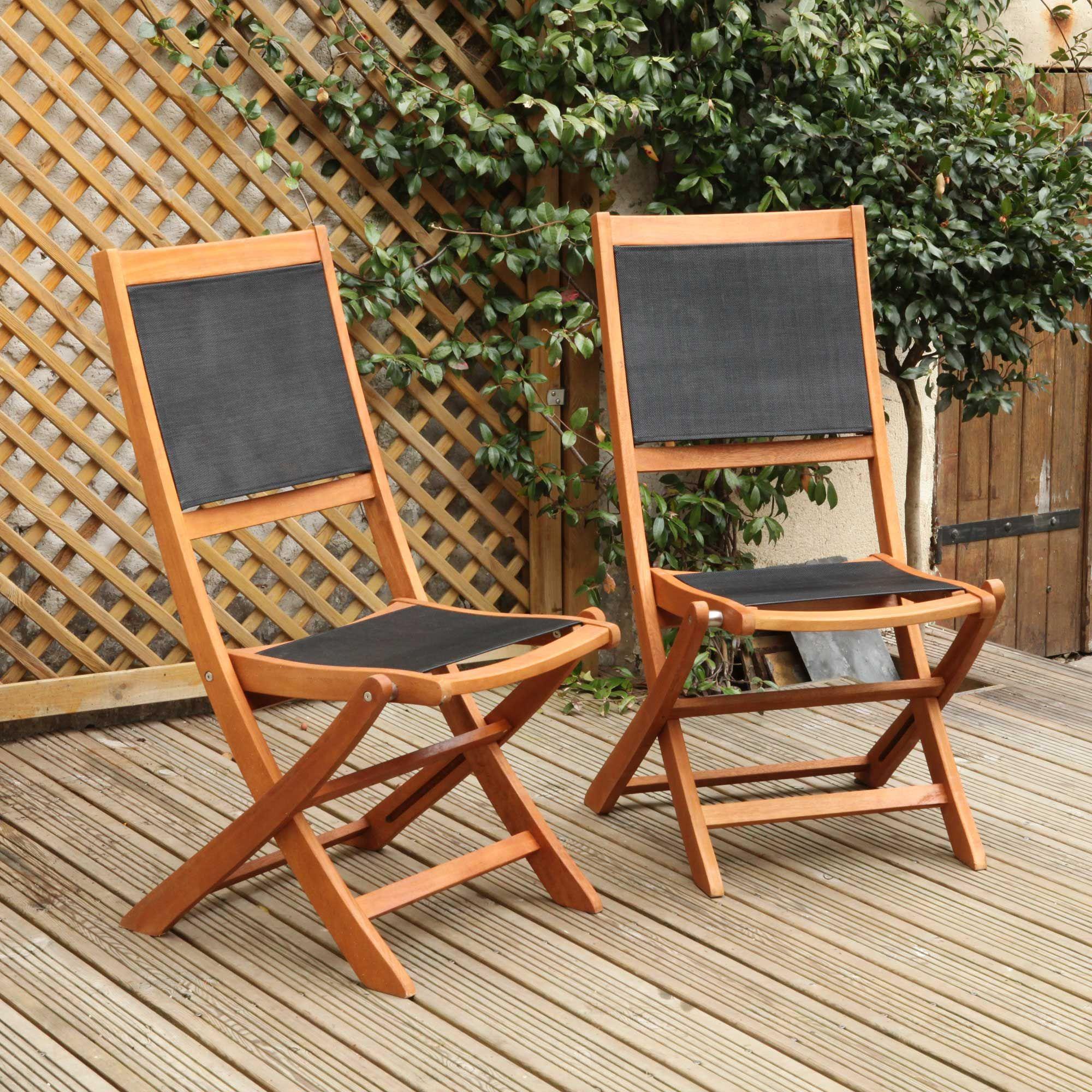 Chaises De Jardin Pliantes Eucalyptus Fsc / Textilène Noir ... serapportantà Chaise De Jardin Pliante Pas Cher