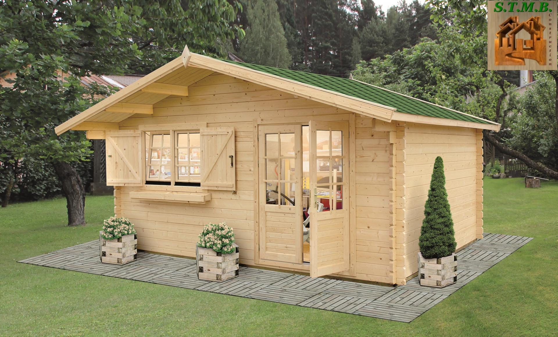 Chalet En Sapin De 50 M2 Sans Permis De Construire - Chalet ... intérieur Construction Abri De Jardin En Bois
