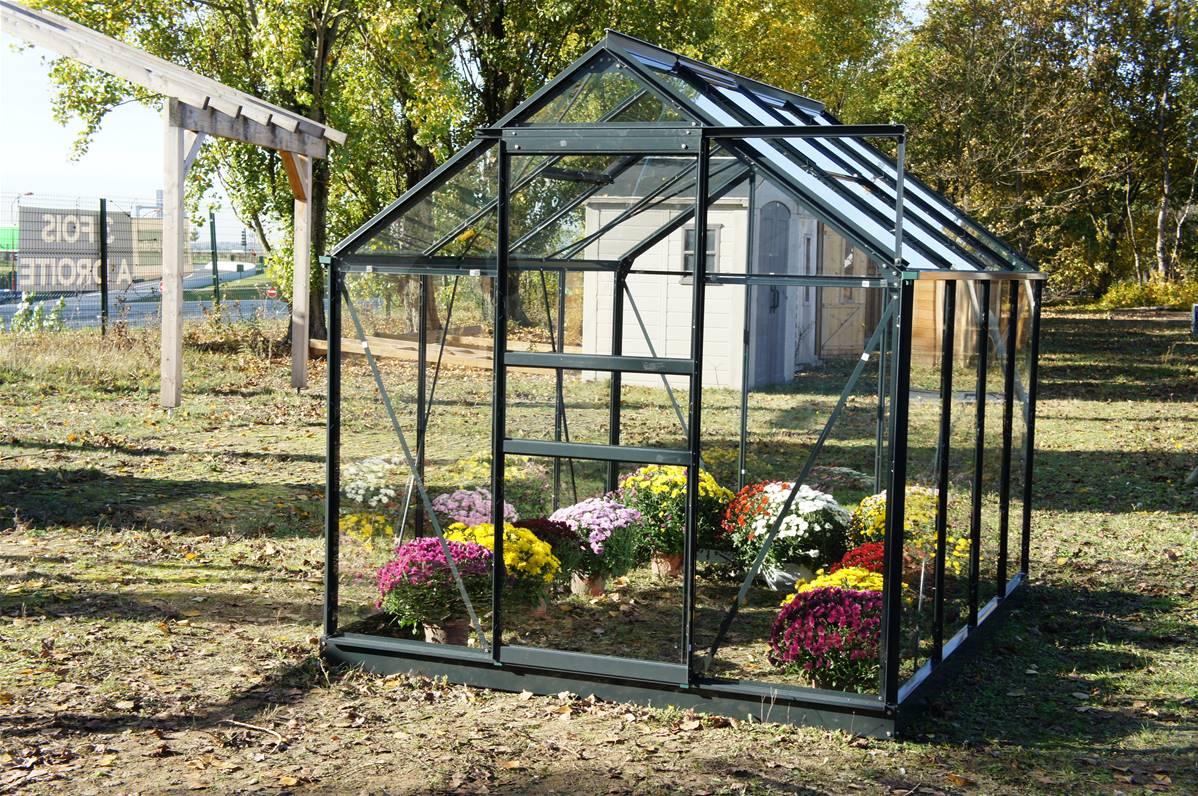 Chalet & Jardin Serre De Jardin En Verre Trempé Grise Avec Base 4,65 M² -  804388 tout Escabeau Jardin