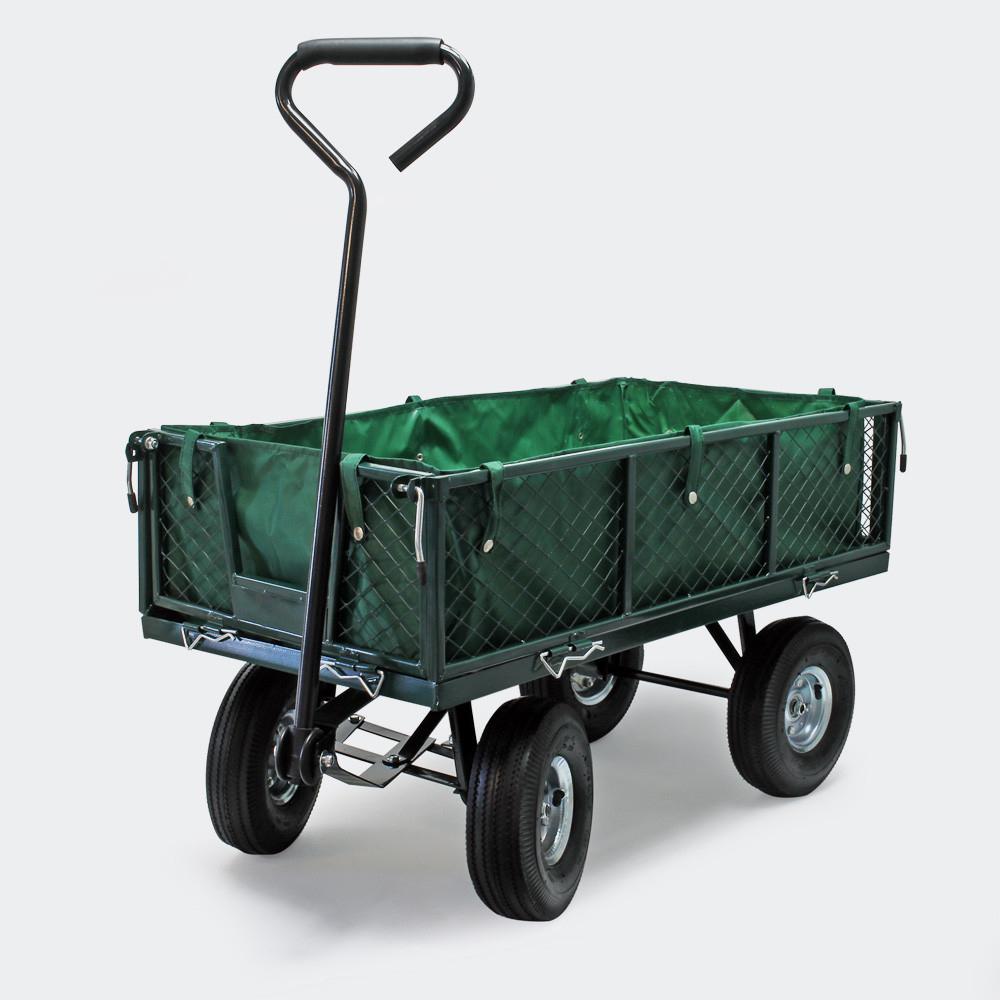Chariot De Jardin À Main 300Kg Avec Bâche Amovible Et Grilles Remorque concernant Chariot De Jardin 4 Roues