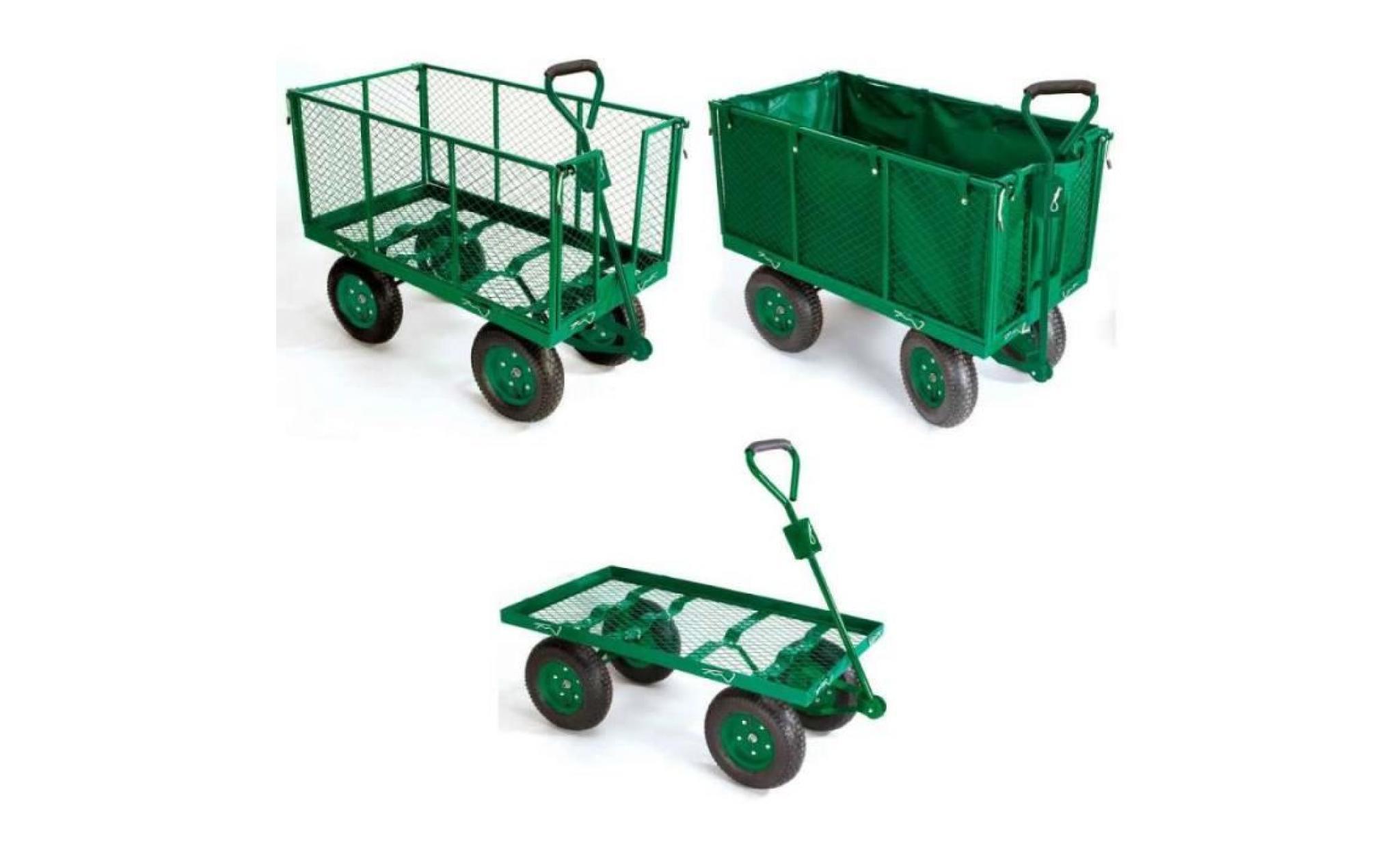 Chariot De Jardin Grillagé 4 Roues + Bâche tout Chariot De Jardin 4 Roues