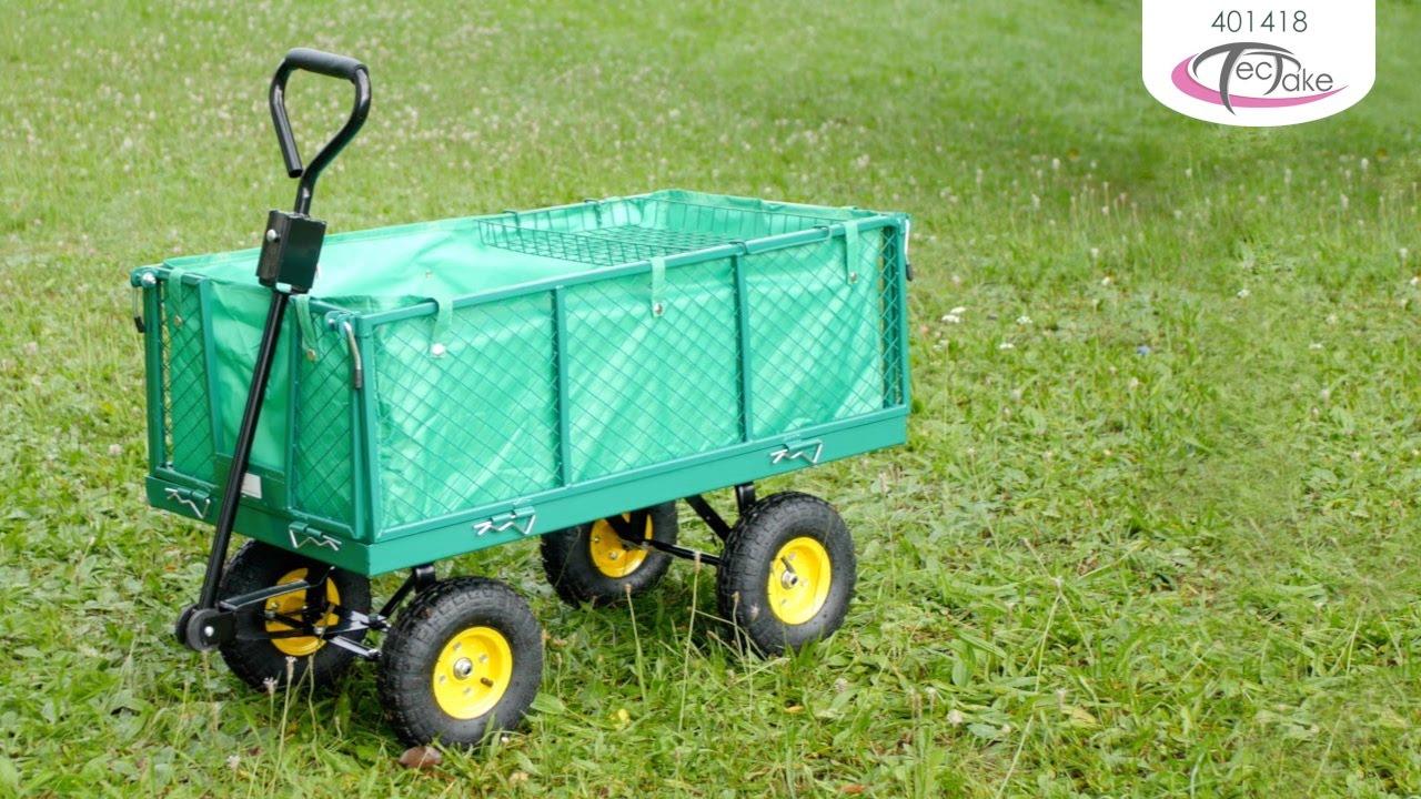 Chariot De Jardin Pliable Xxl Avec Bâche Et Plateau | Tectake serapportantà Chariot De Jardin 4 Roues