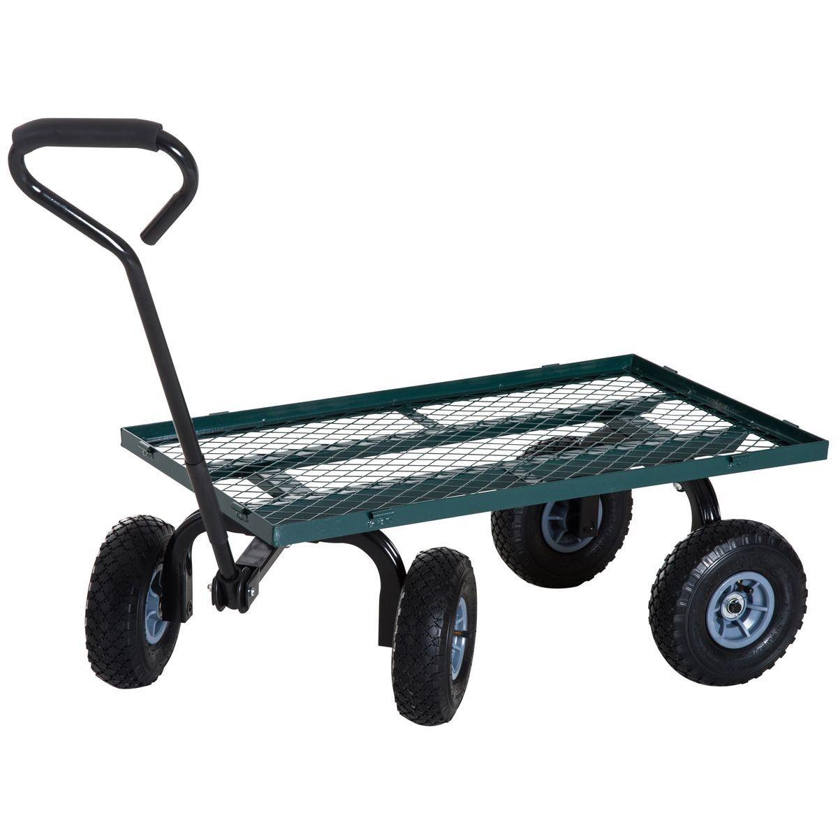Chariot De Transport Jardin 4 Roues Vert | Chariot De ... destiné Chariot De Jardin 4 Roues
