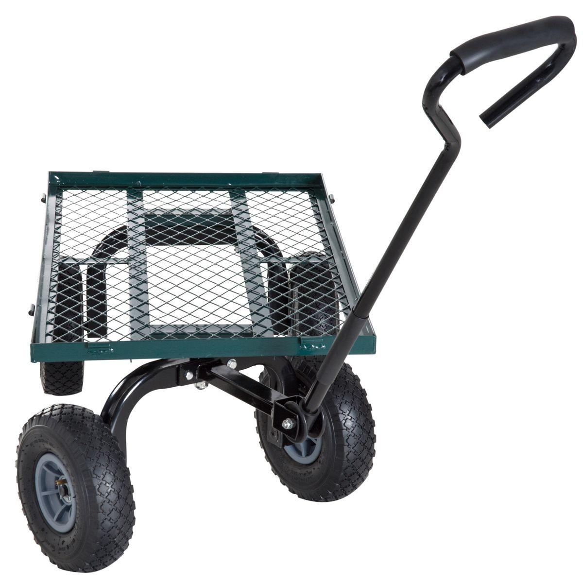 Chariot De Transport Jardin 4 Roues Vert - Taille : Taille ... pour Chariot De Jardin 4 Roues